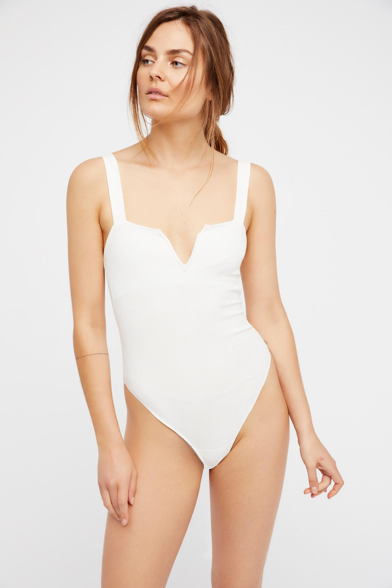 5bcf4640fd Free People - White Pippa V-wire Bodysuit By Intimately - Lyst. View  fullscreen