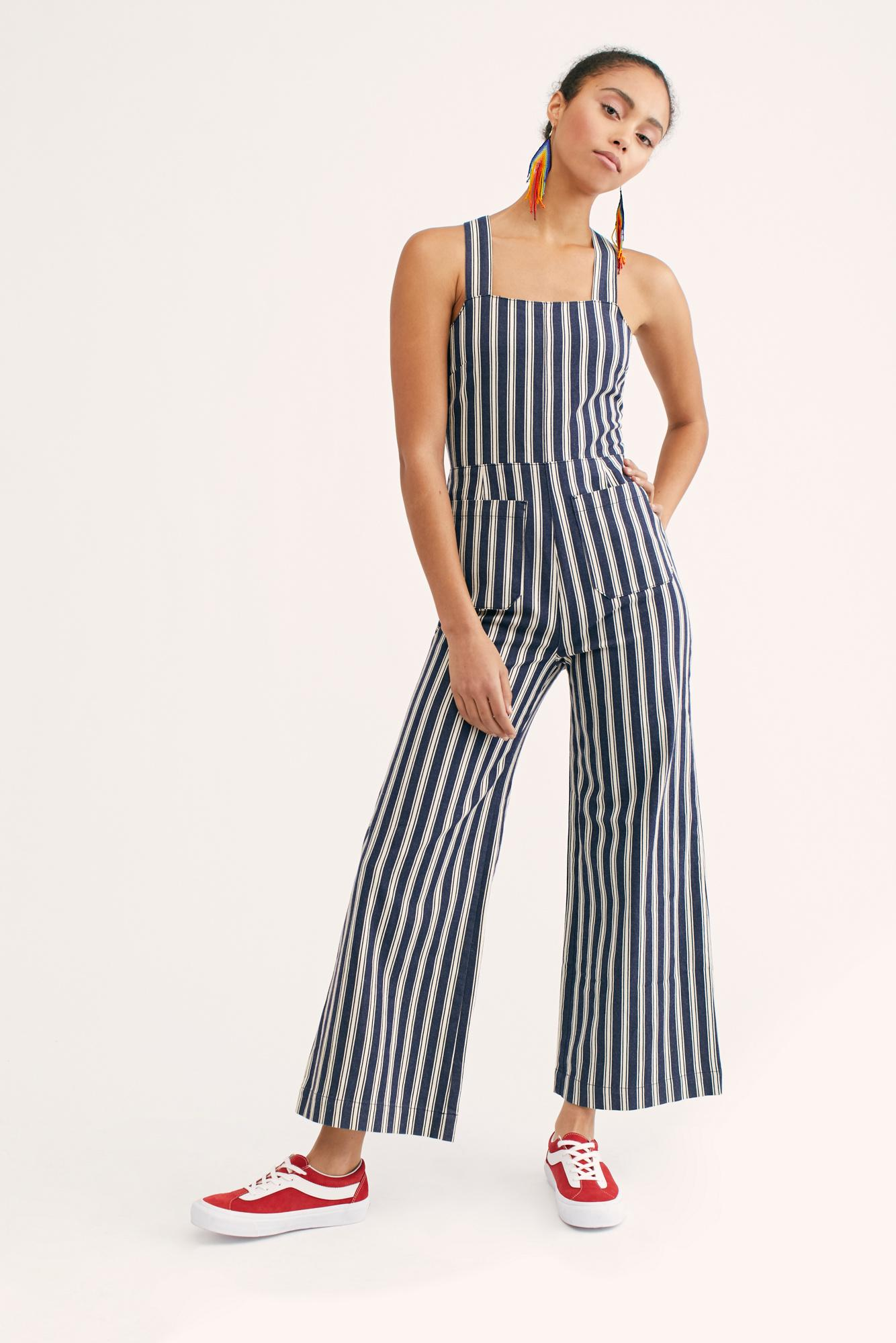 ed562817c2de Free People - Blue Sailor Stripe Jumpsuit - Lyst. View fullscreen