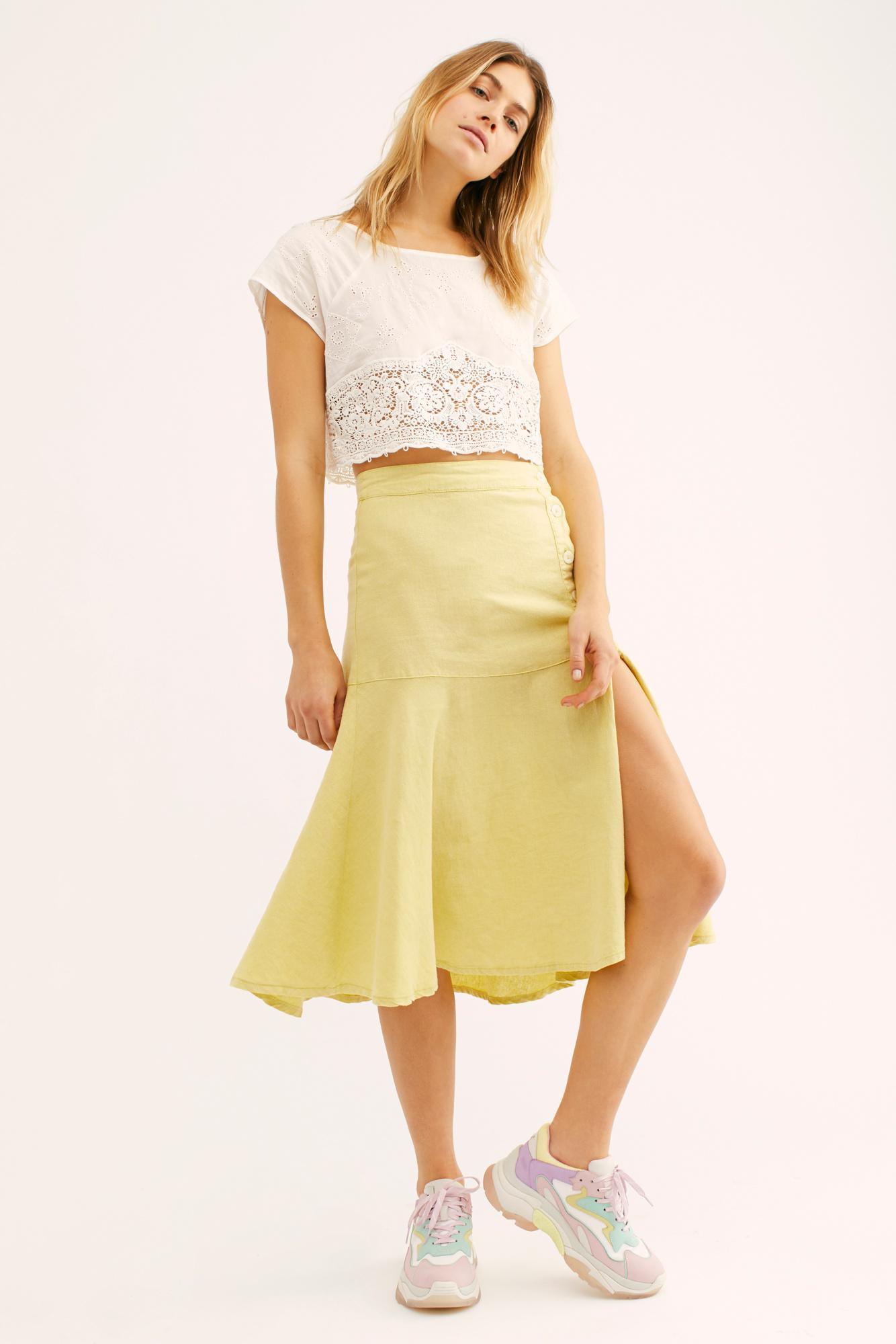 536976a328ef Free People. Women's Poppy Flounced Midi Skirt