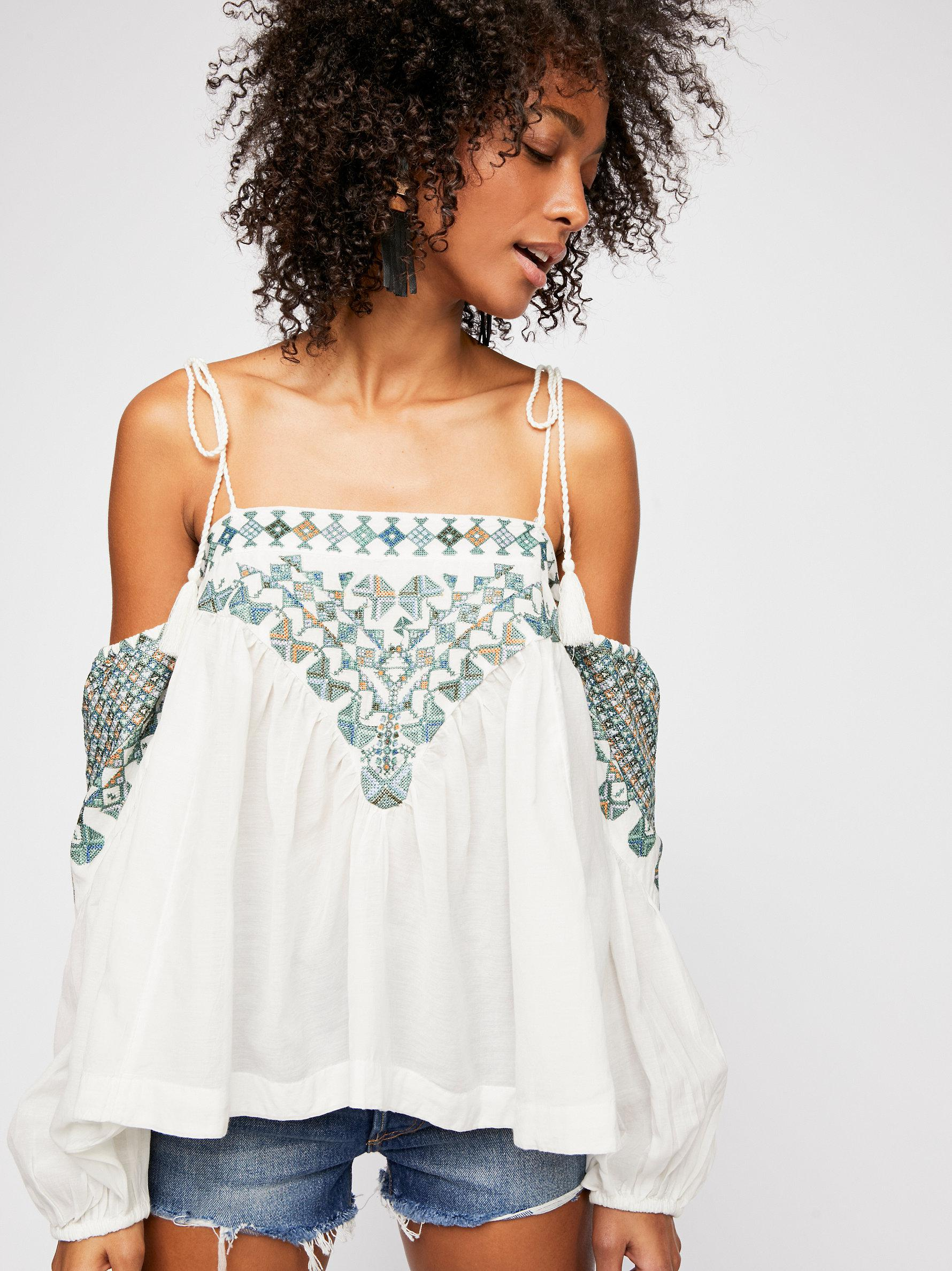 8695334c33400 Lyst - Free People Vacay Vibin Top in White