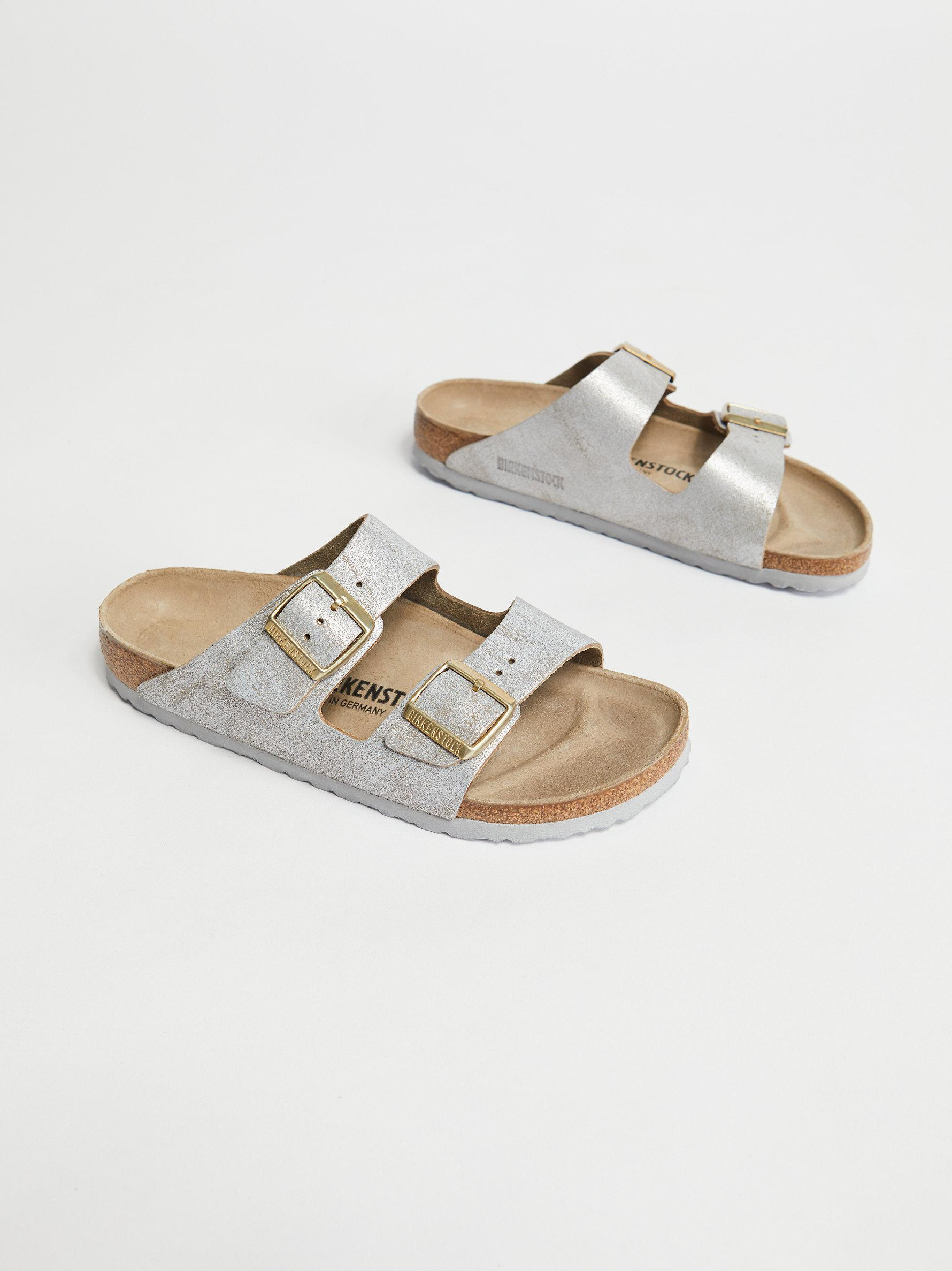 df35ff5ec5abf Free People Arizona Washed Metallic Birkenstock Sandal in Metallic ...
