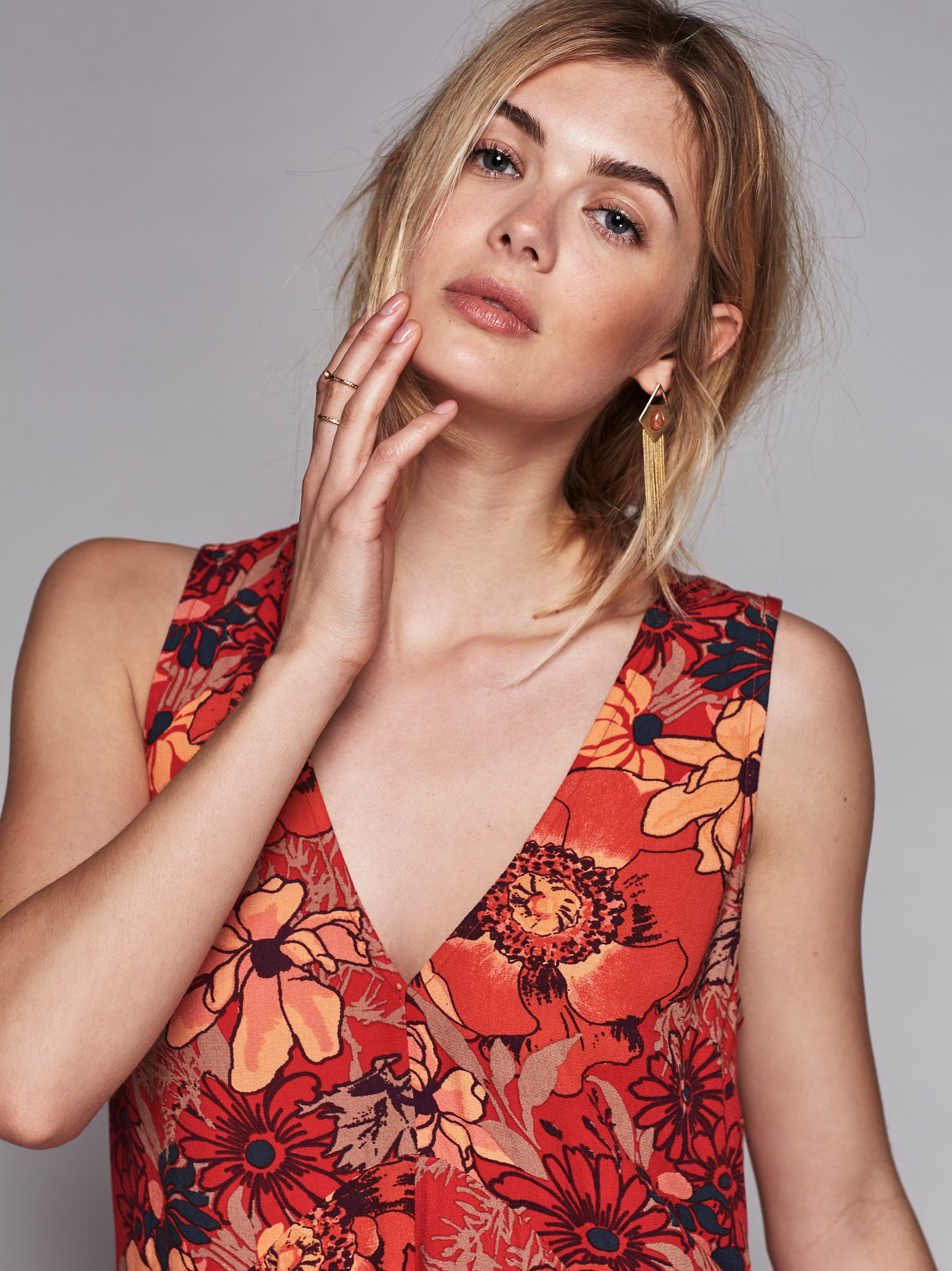 Free People Back Yard Party Printed Tunic In Red