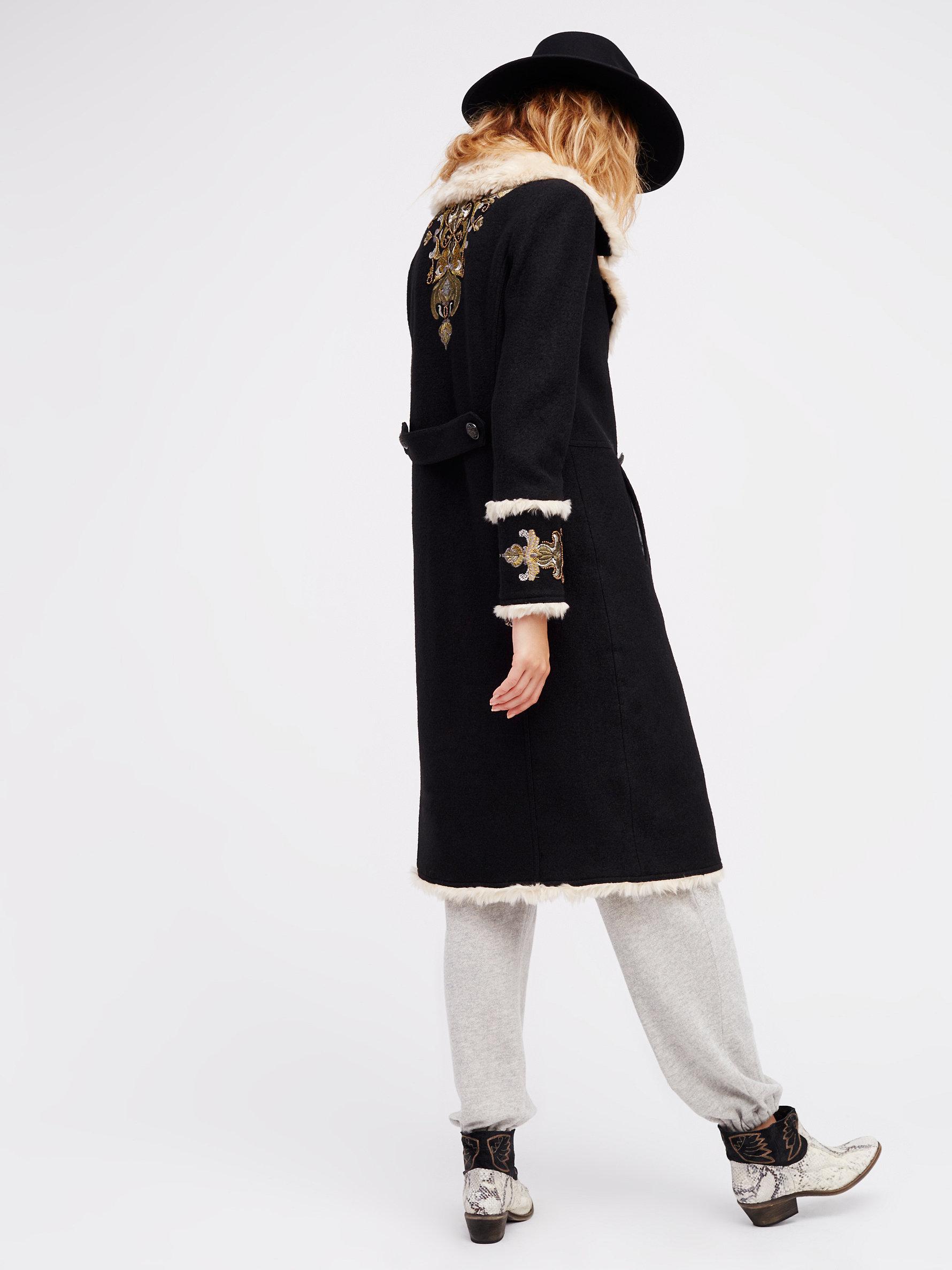 Lyst Free People Boiled Wool Faux Shearling Coat In Black