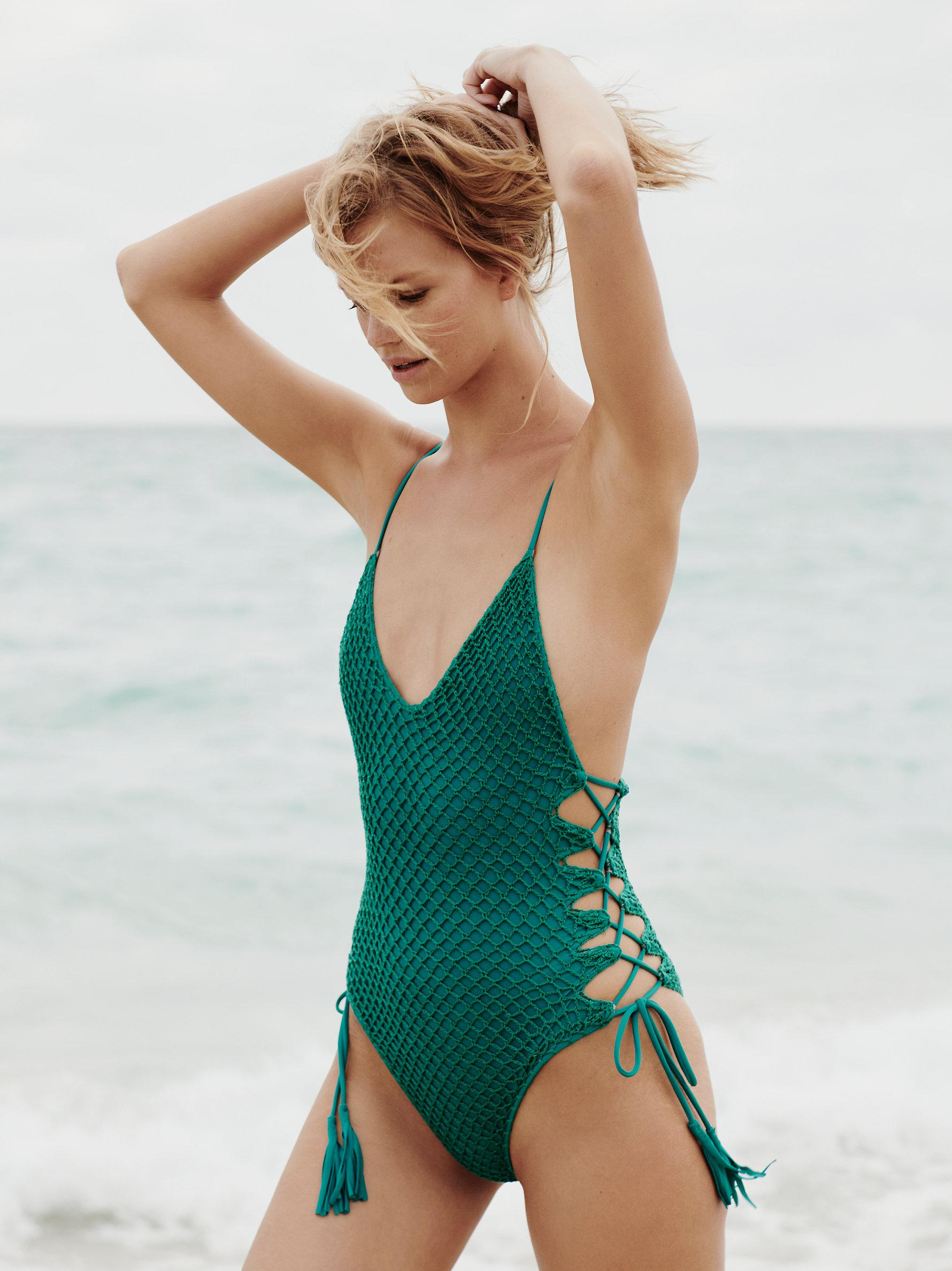 57aac843fab Free People Crochet Florence One-piece Swimsuit in Green - Lyst