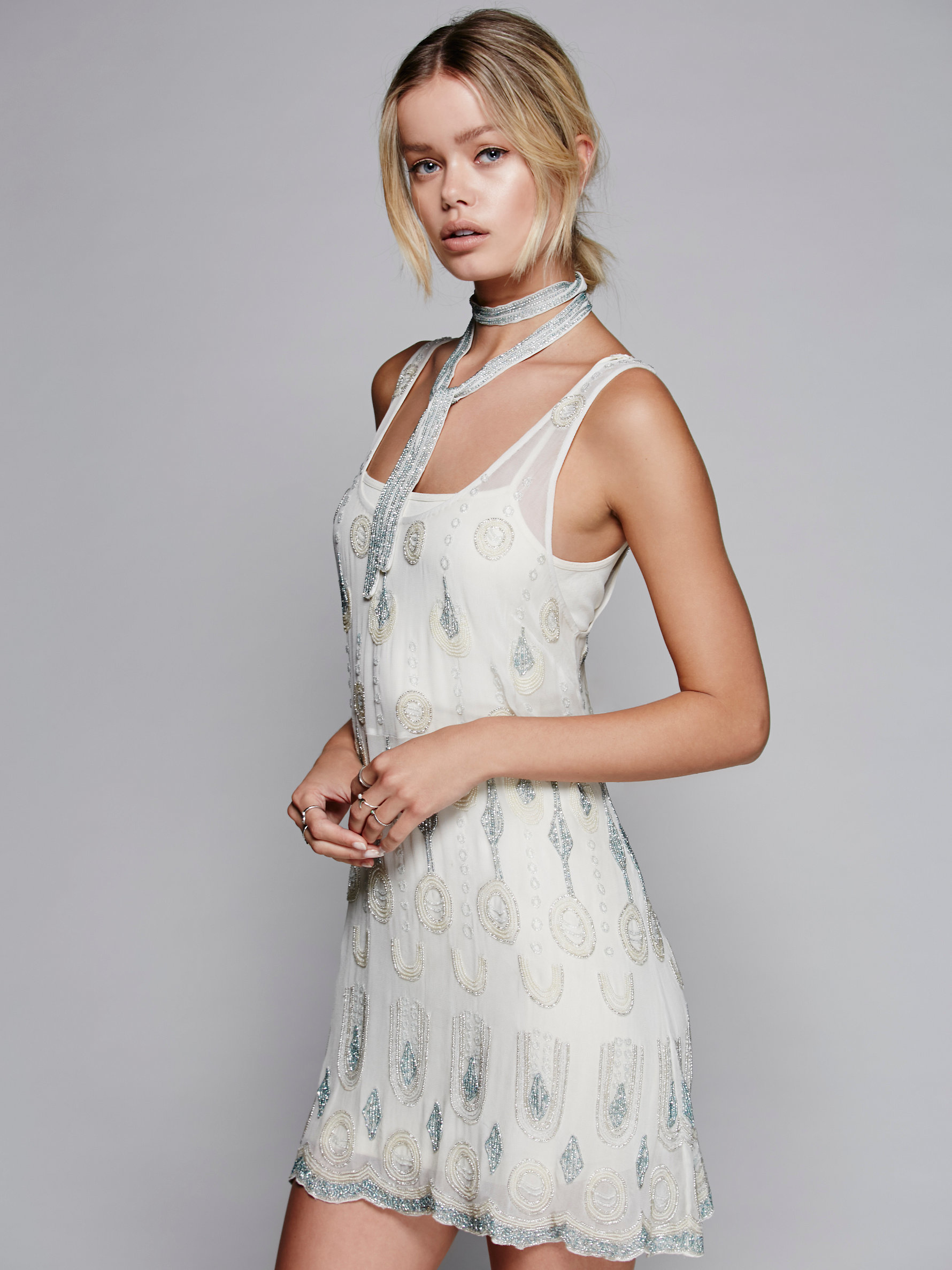 f318b88b3f668 Free People Champagne Nights Embellished Tunic in White - Lyst