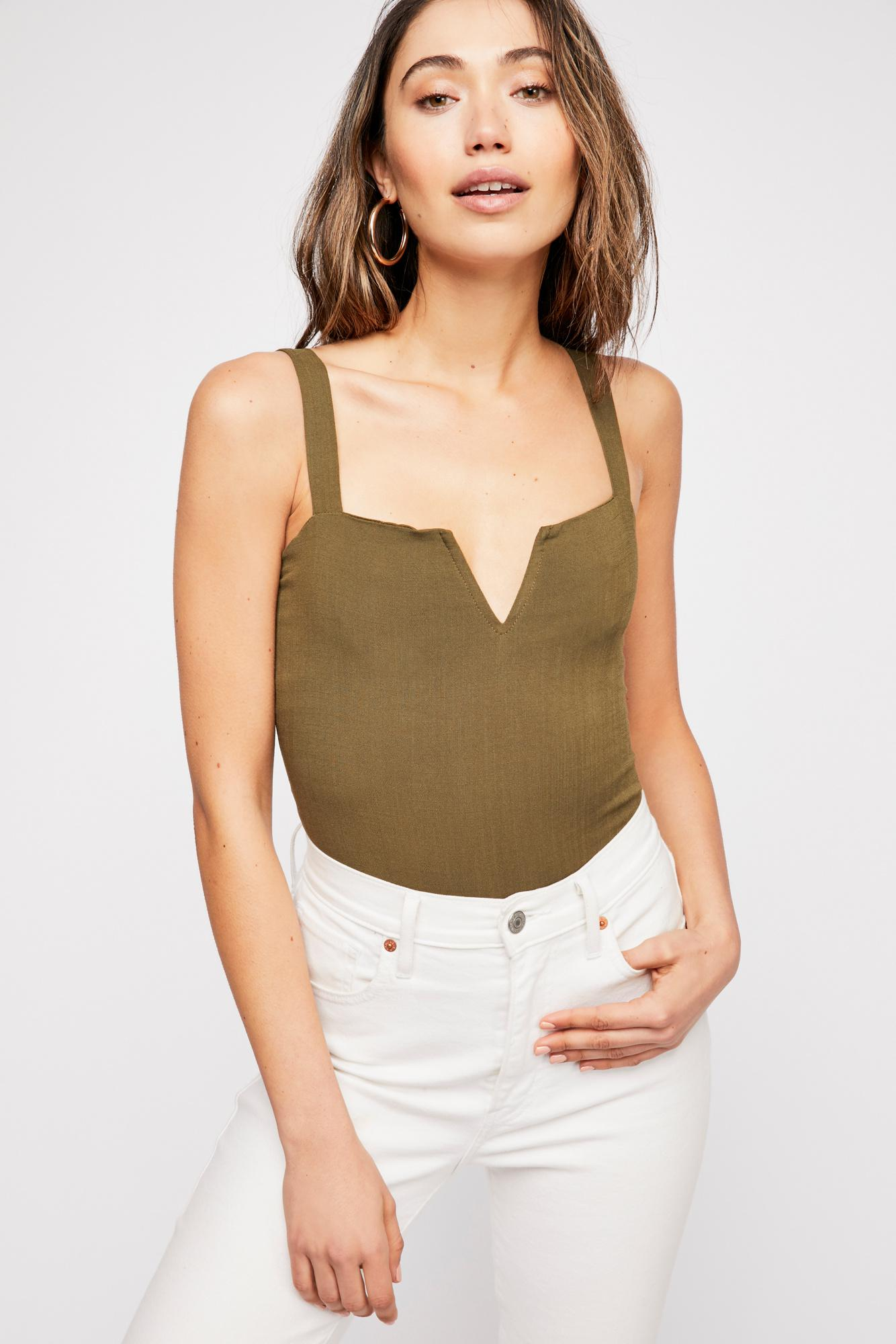 ed367fce2c Free People - Green Pippa V-wire Bodysuit By Intimately - Lyst. View  fullscreen
