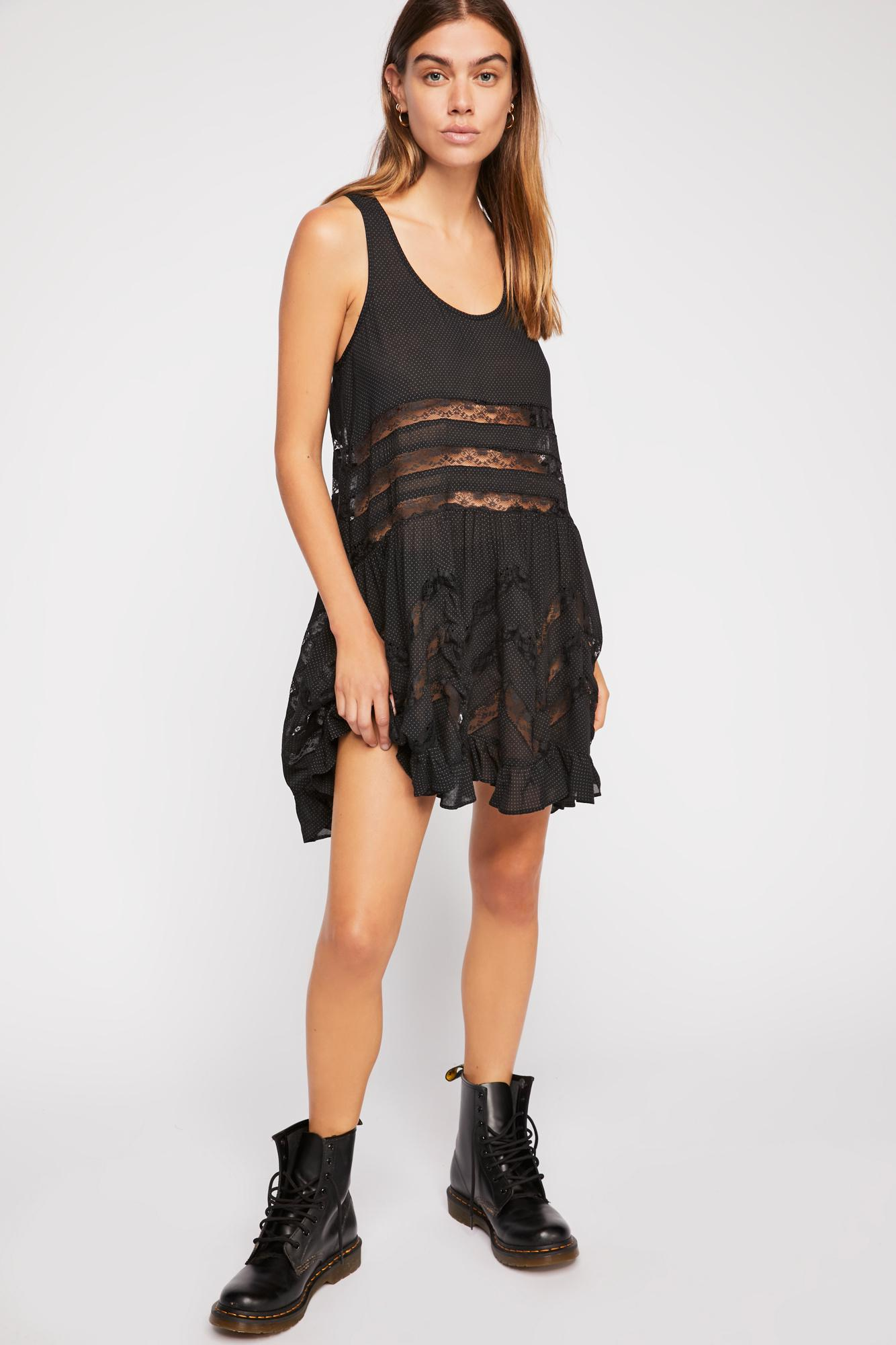 ec1f25bbda3 Free People - Black Voile And Lace Trapeze Slip By Intimately - Lyst. View  fullscreen