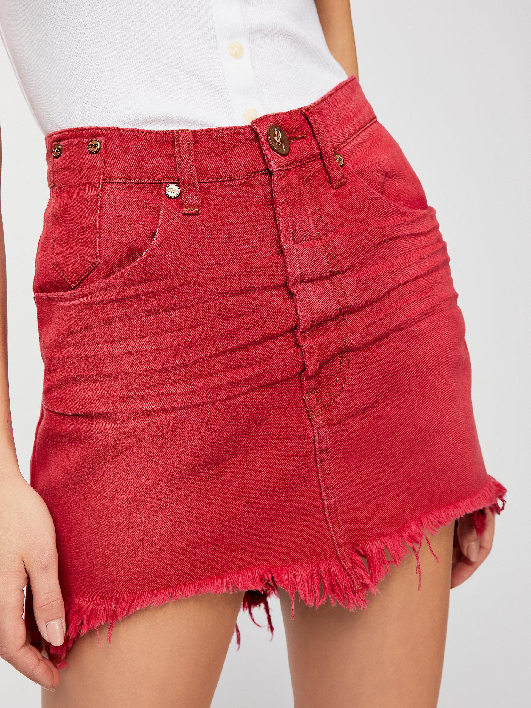 2cdb0a79a910cf Free People Oneteaspoon Vanguard Mid-rise Relaxed Skirt in Red - Lyst