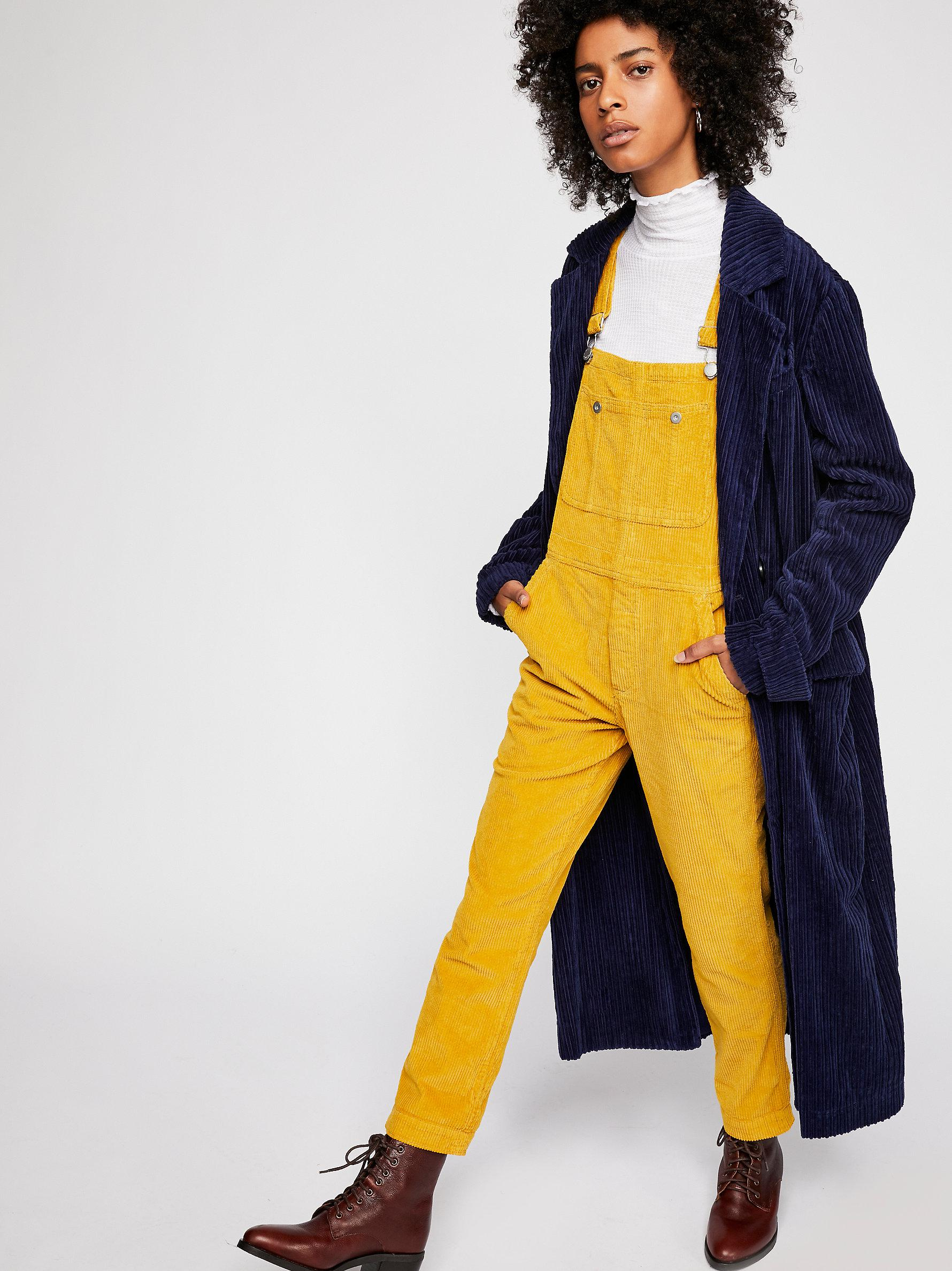 5febded1c87a Free People Cord Boyfriend Overalls By We The Free in Yellow - Lyst