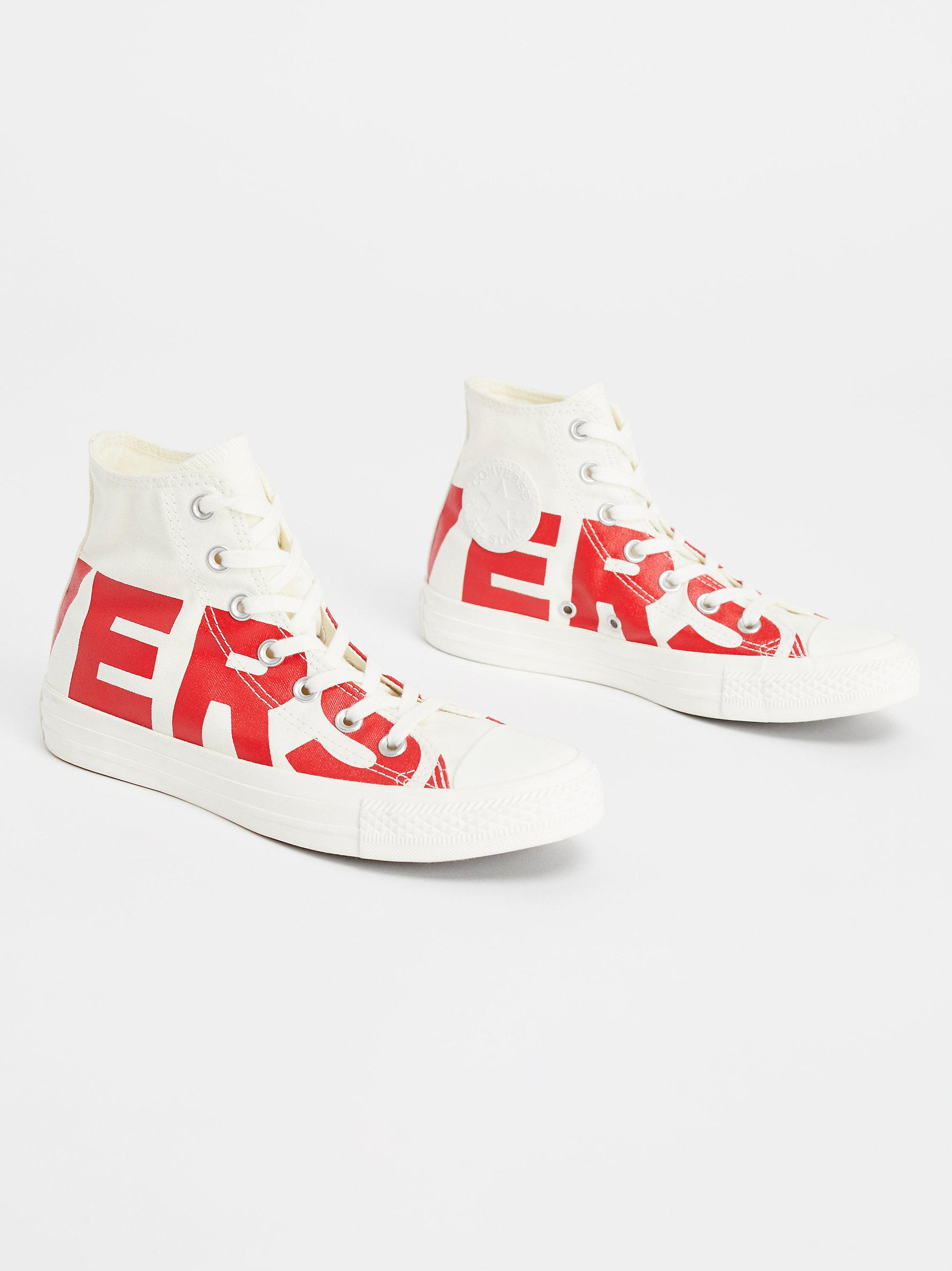 67686c7ce583 Lyst - Free People All Star Bold High Top Trainers in Red