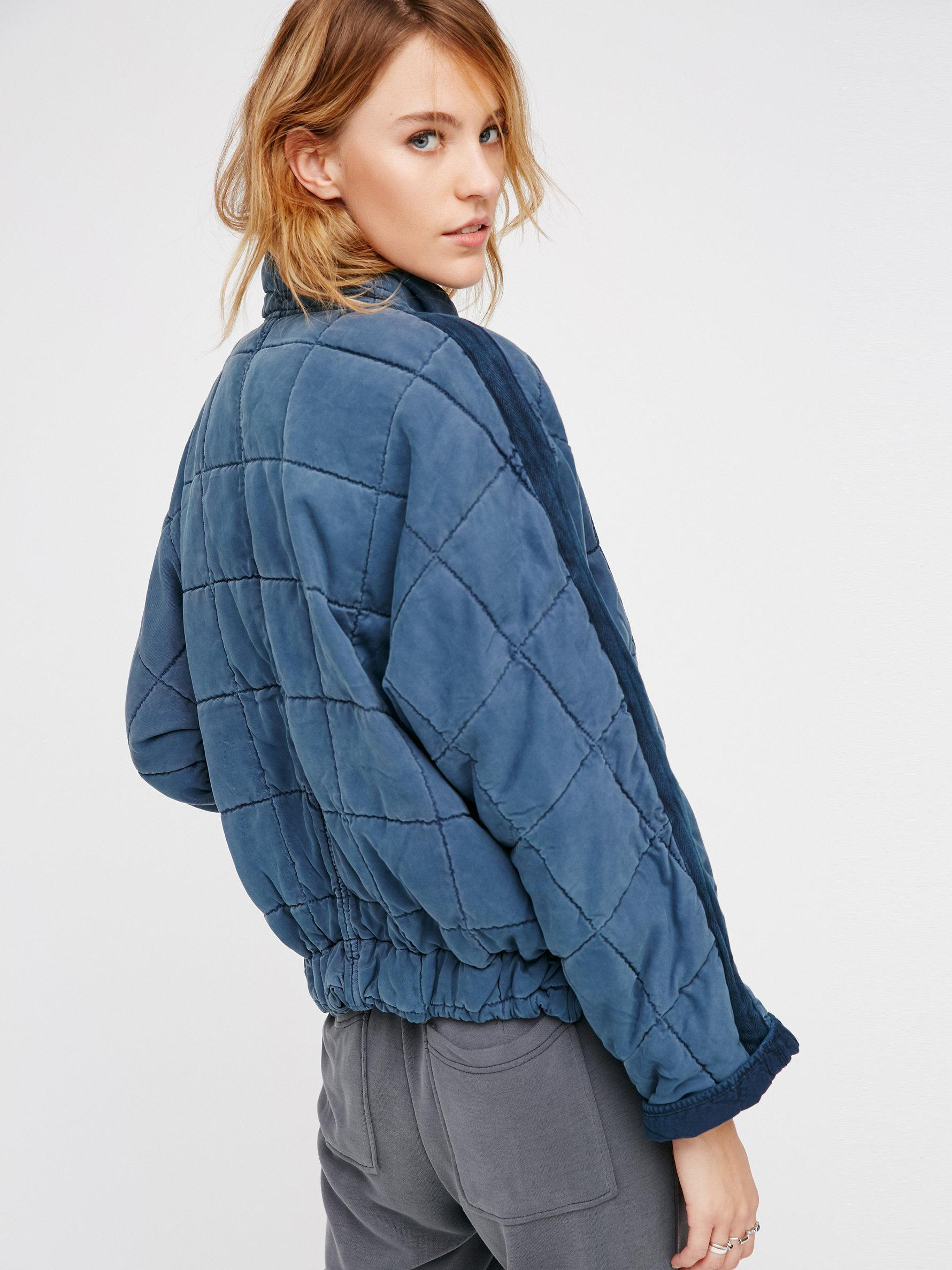 Free People Dolman Quilted Jacket In Blue Lyst