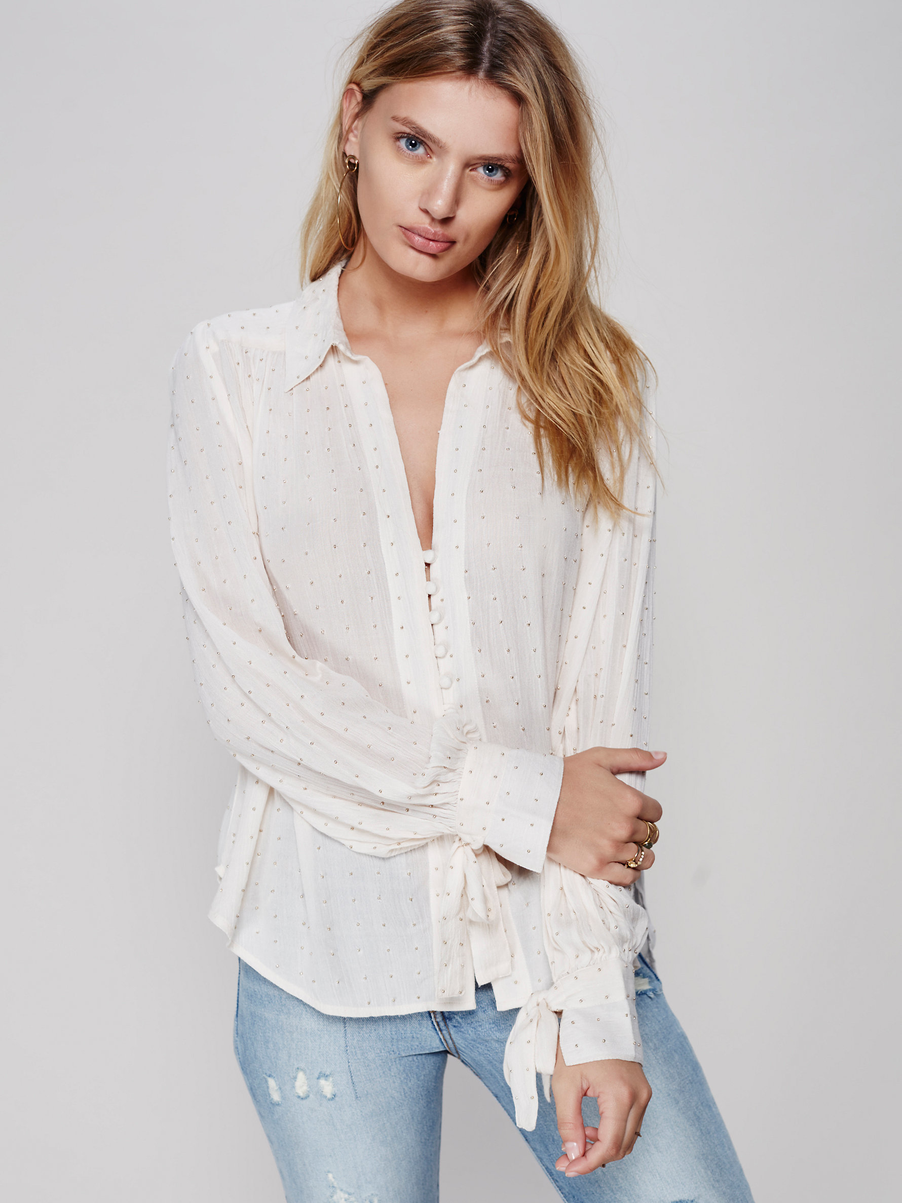 Free people Embellished Button Down Shirt | Lyst