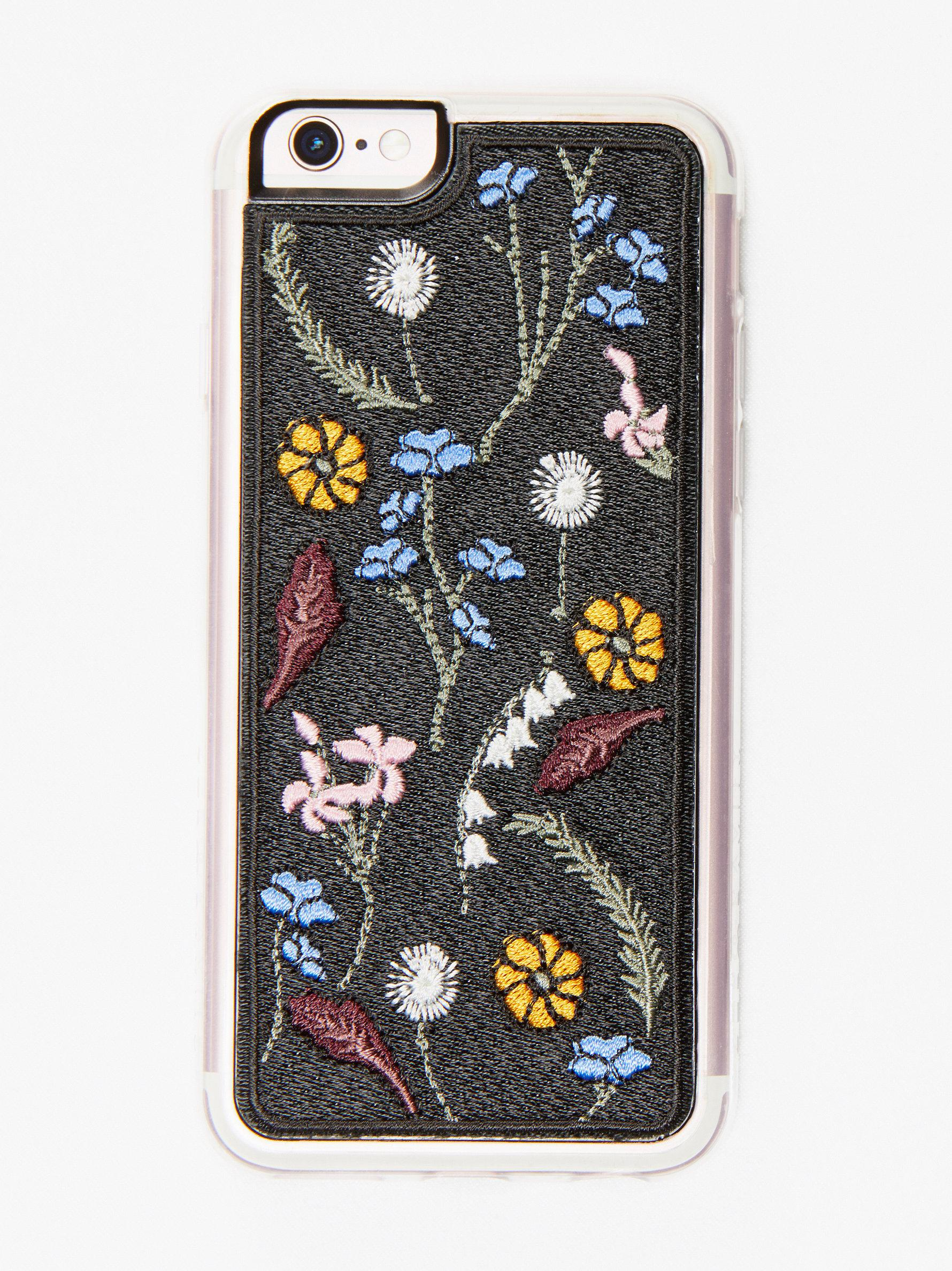 free people iphone case free embroidered iphone in black lyst 5941
