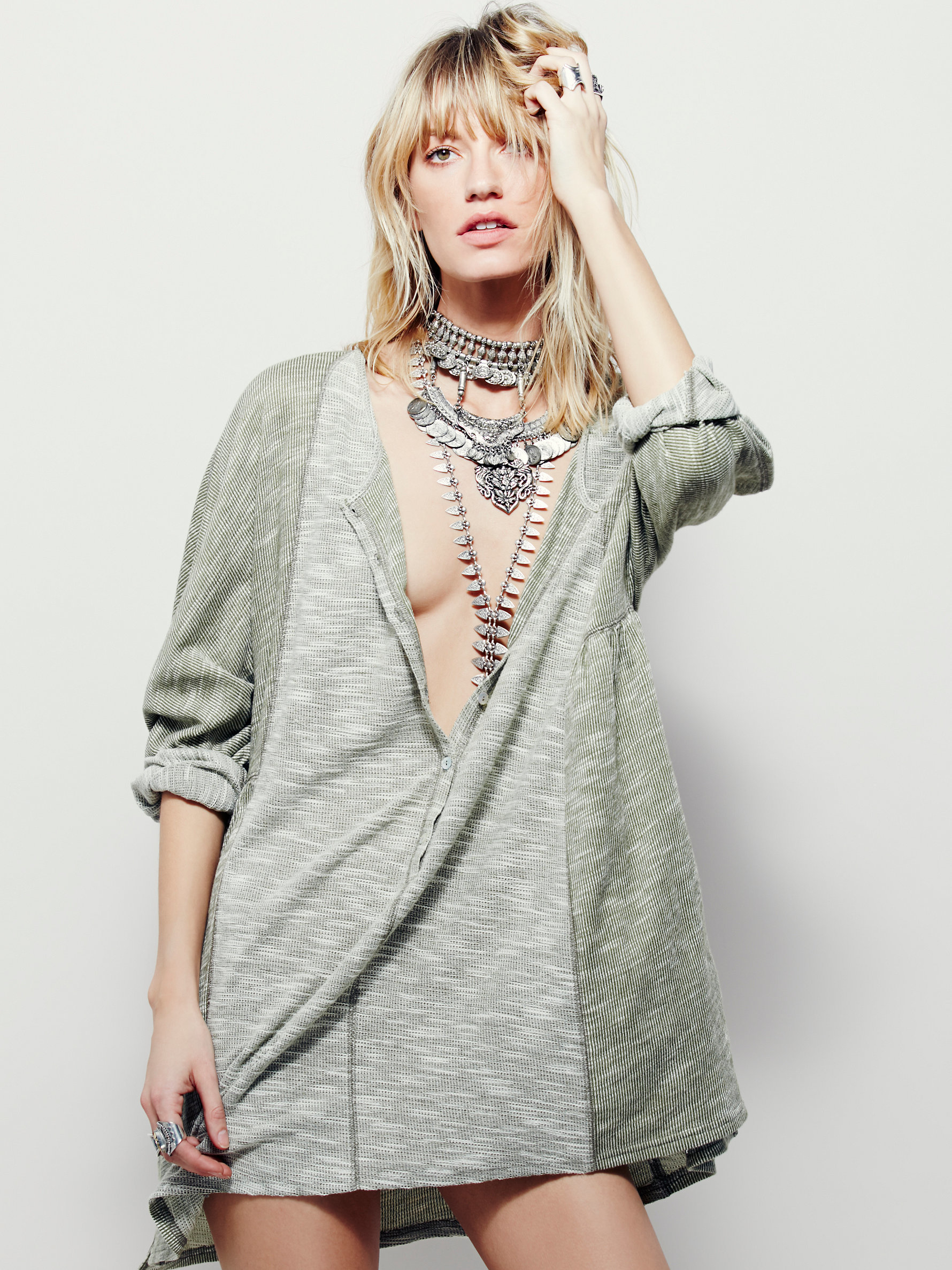 Free People For Real Lounge Dress in Gray - Lyst