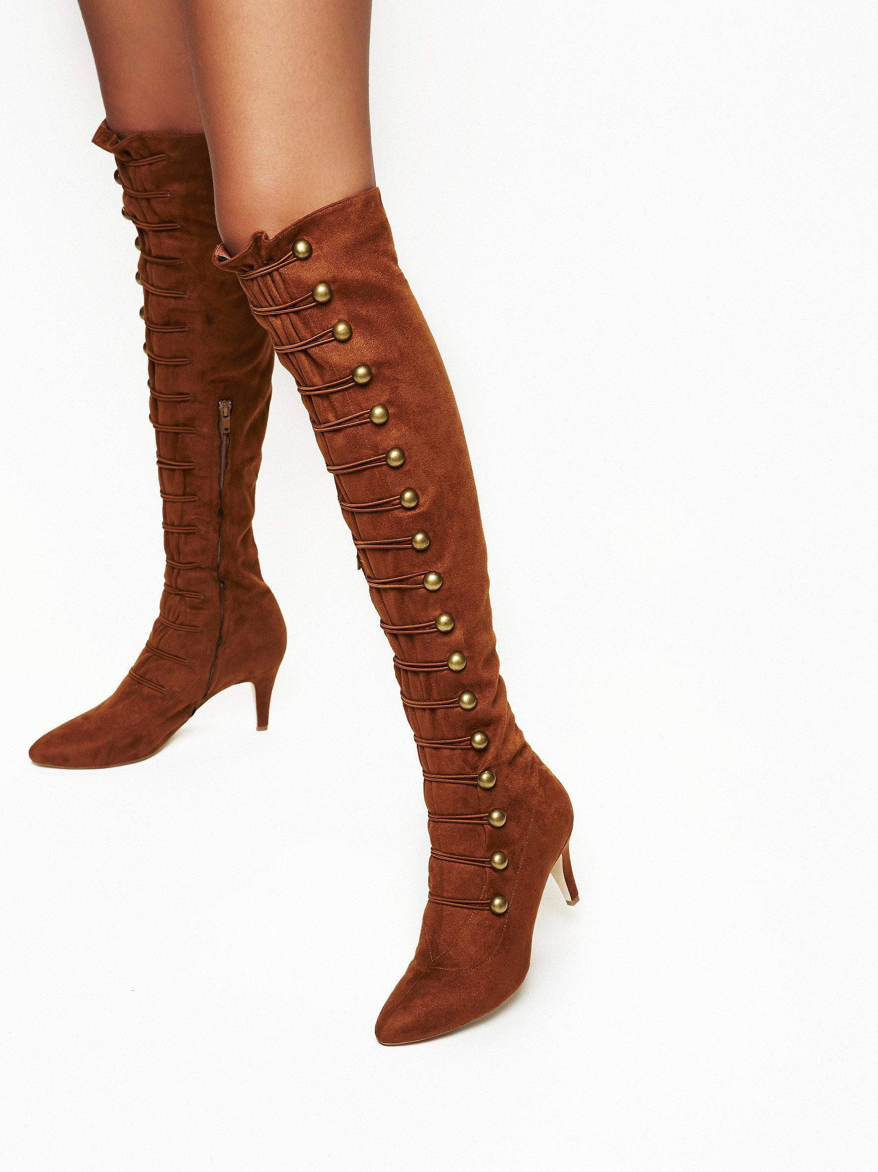 Lyst - Free people Love Stoned Kitten Heel Boot in Brown