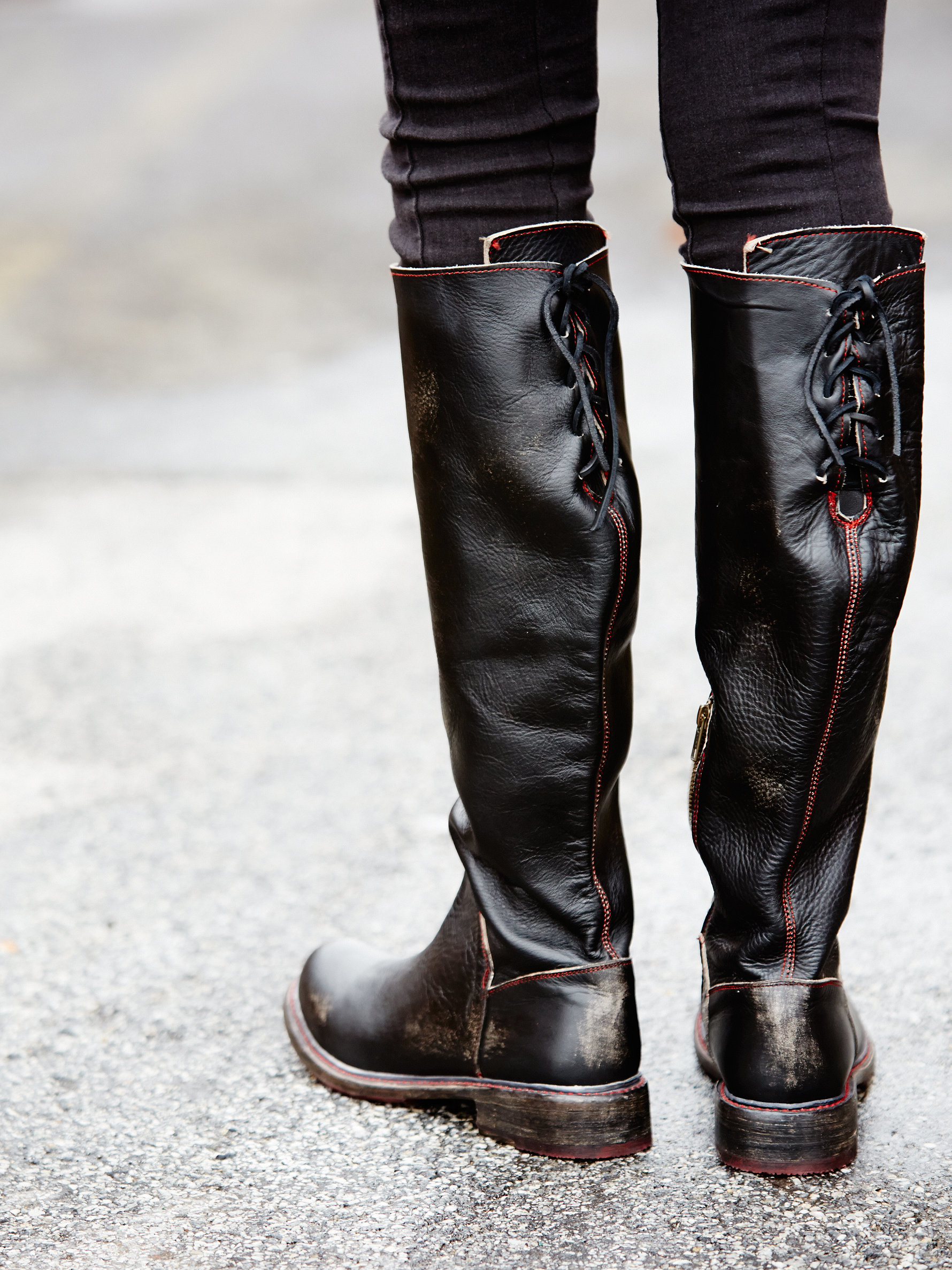 Free People Leather Manchester Tall Boot in Black - Lyst
