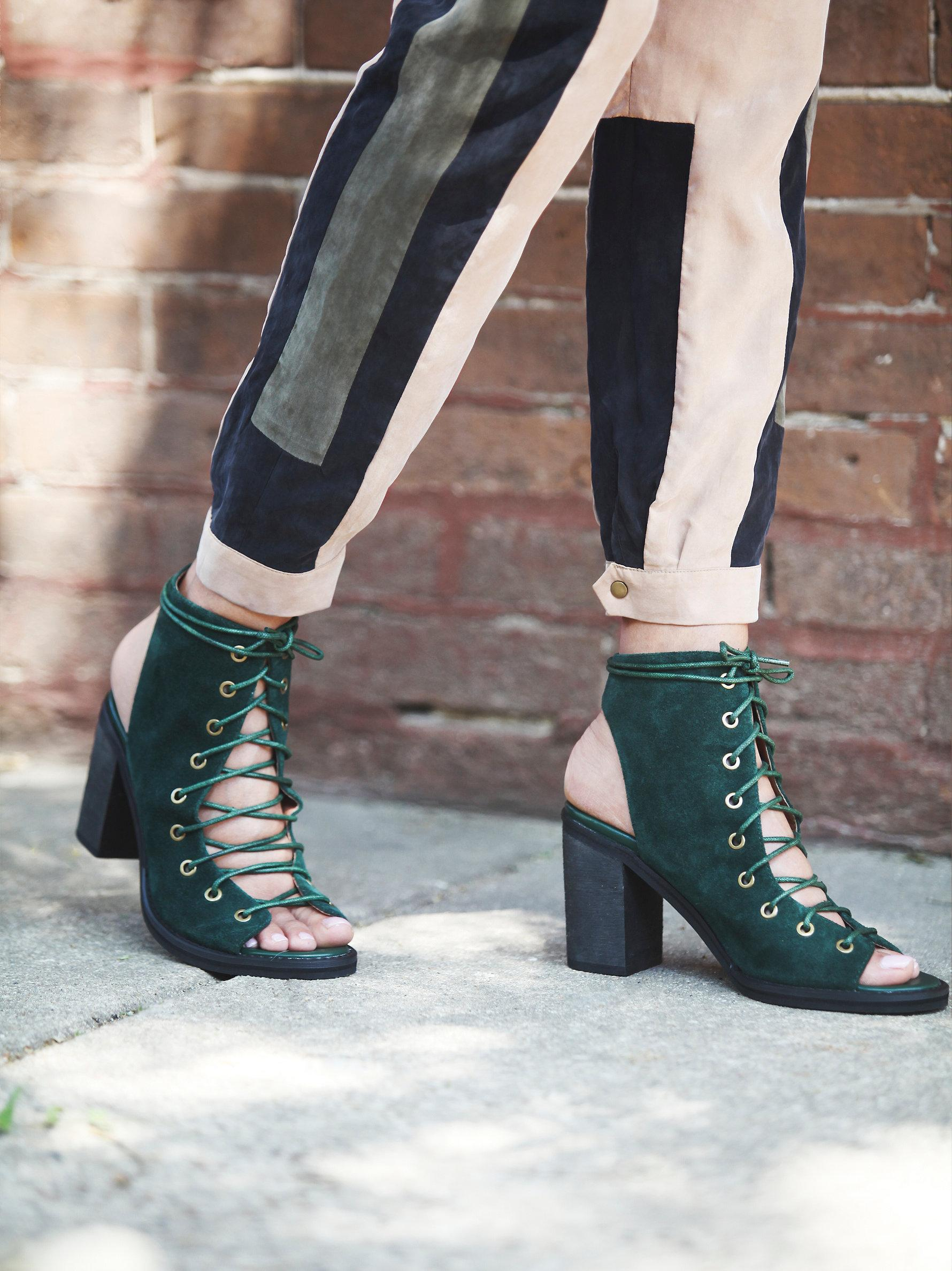 Free people Minimal Lace Up Heel in Green | Lyst