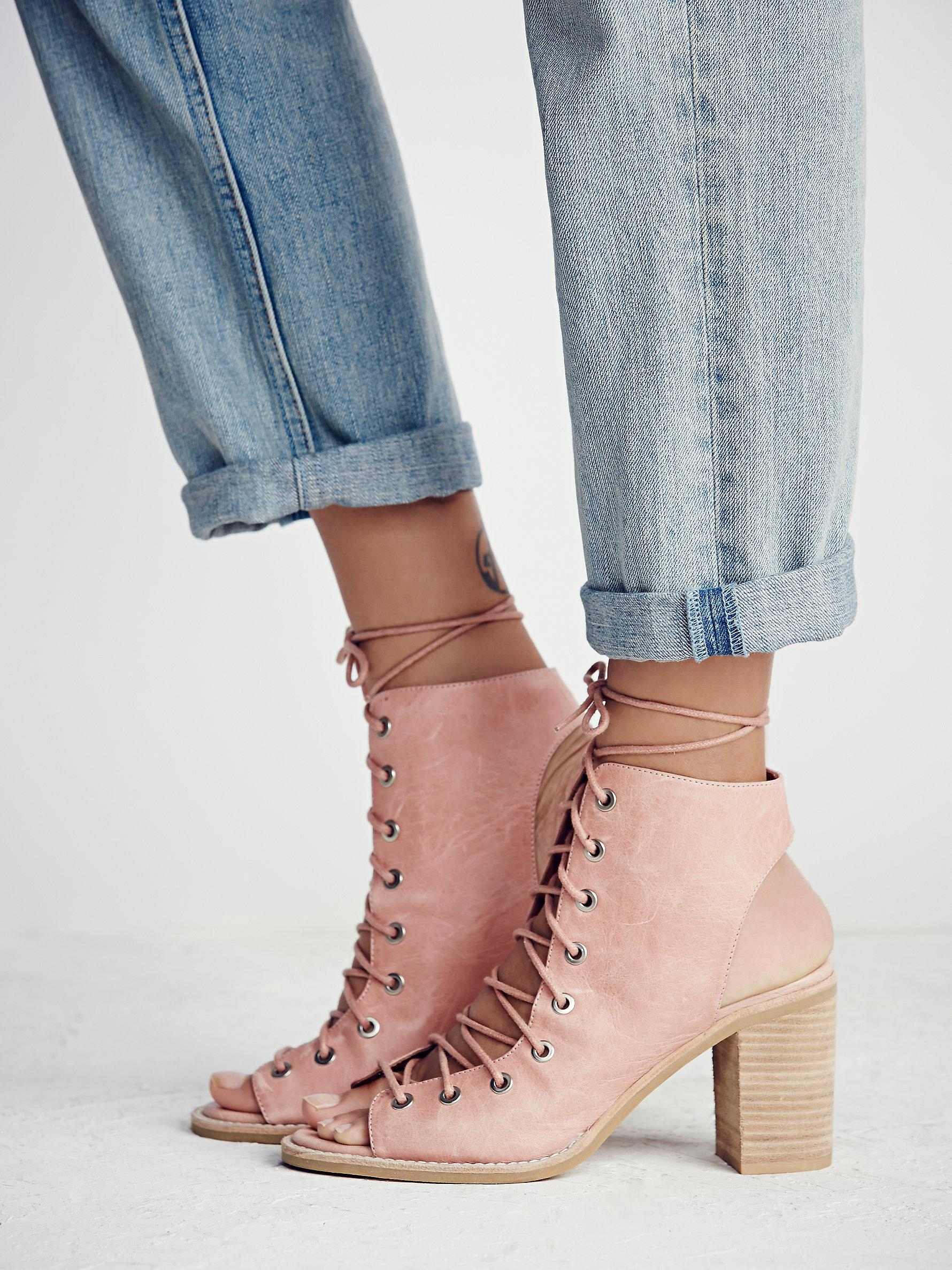 Free people Minimal Lace Up Heel in Pink | Lyst