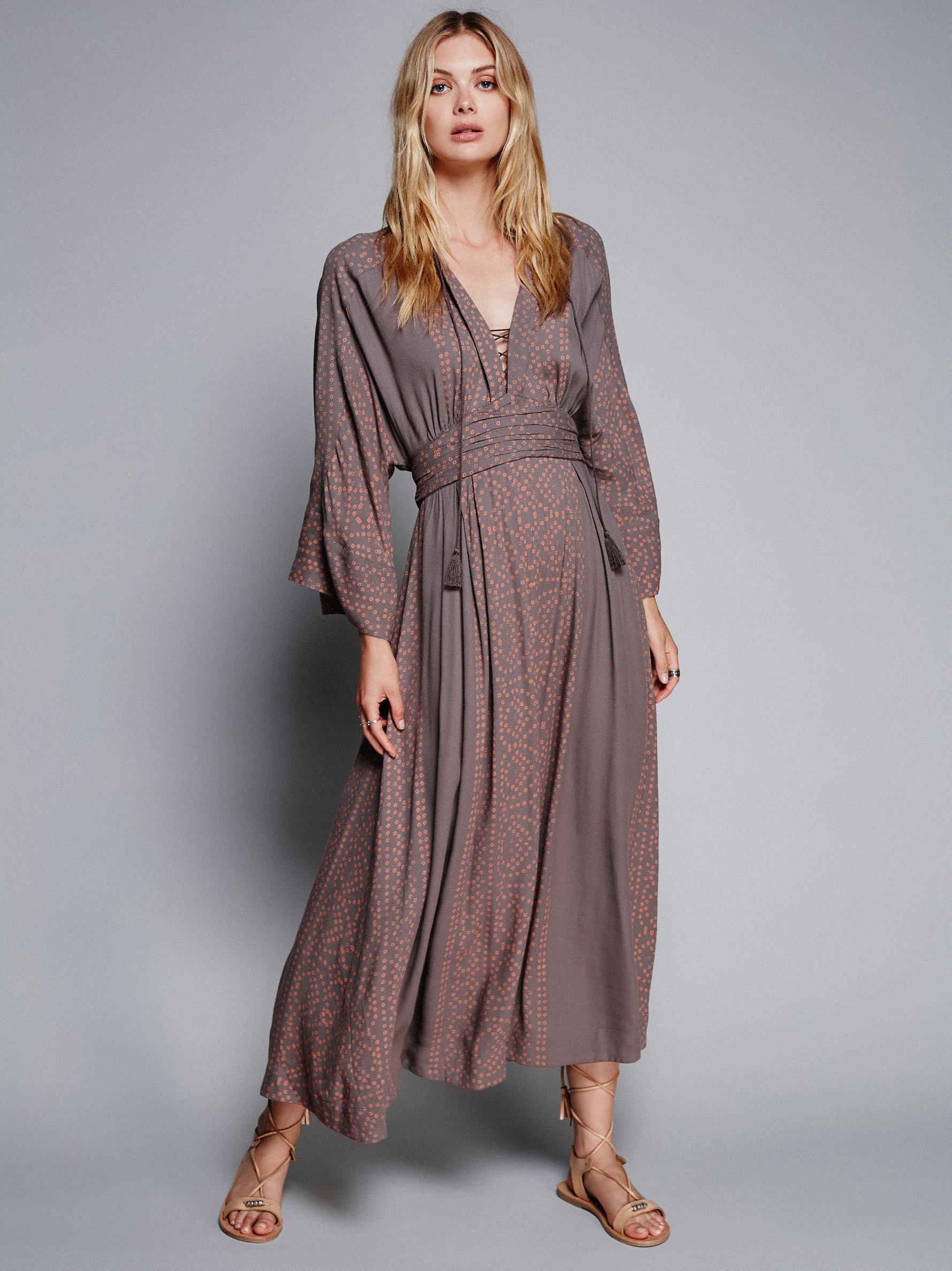 449566f5d6b09 Lyst - Free People Modern Kimono Dress in Gray