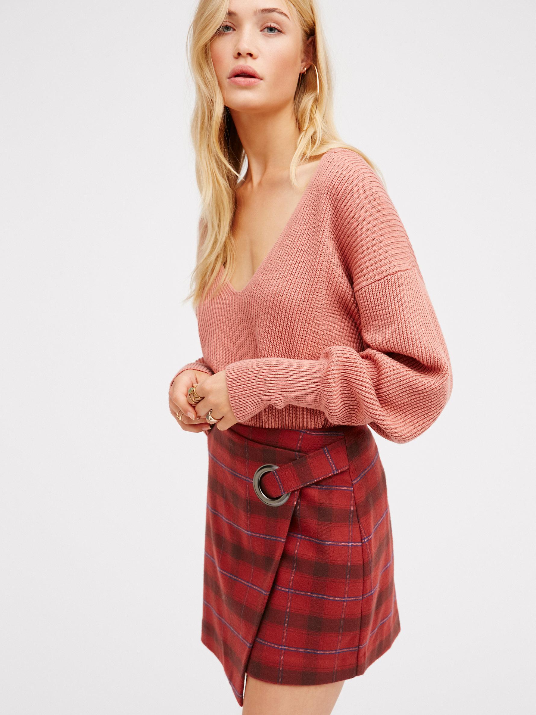 Lyst Free People Tessa Plaid Mini Skirt In Red