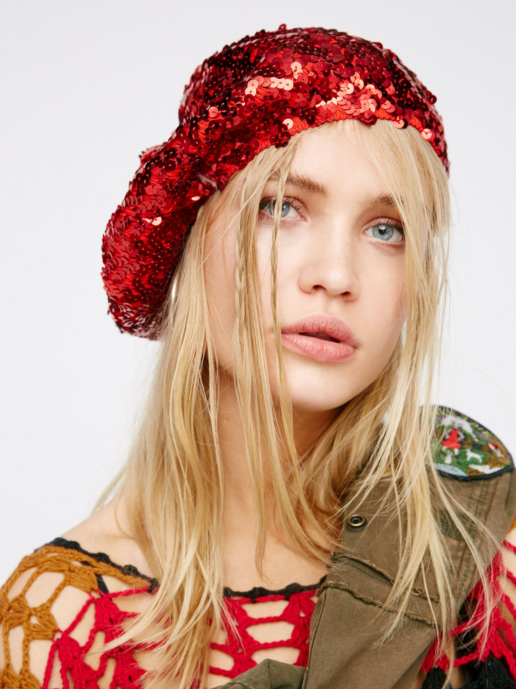 dd1c1e396e5b3 Free People Up All Night Sequin Beret in Red - Lyst