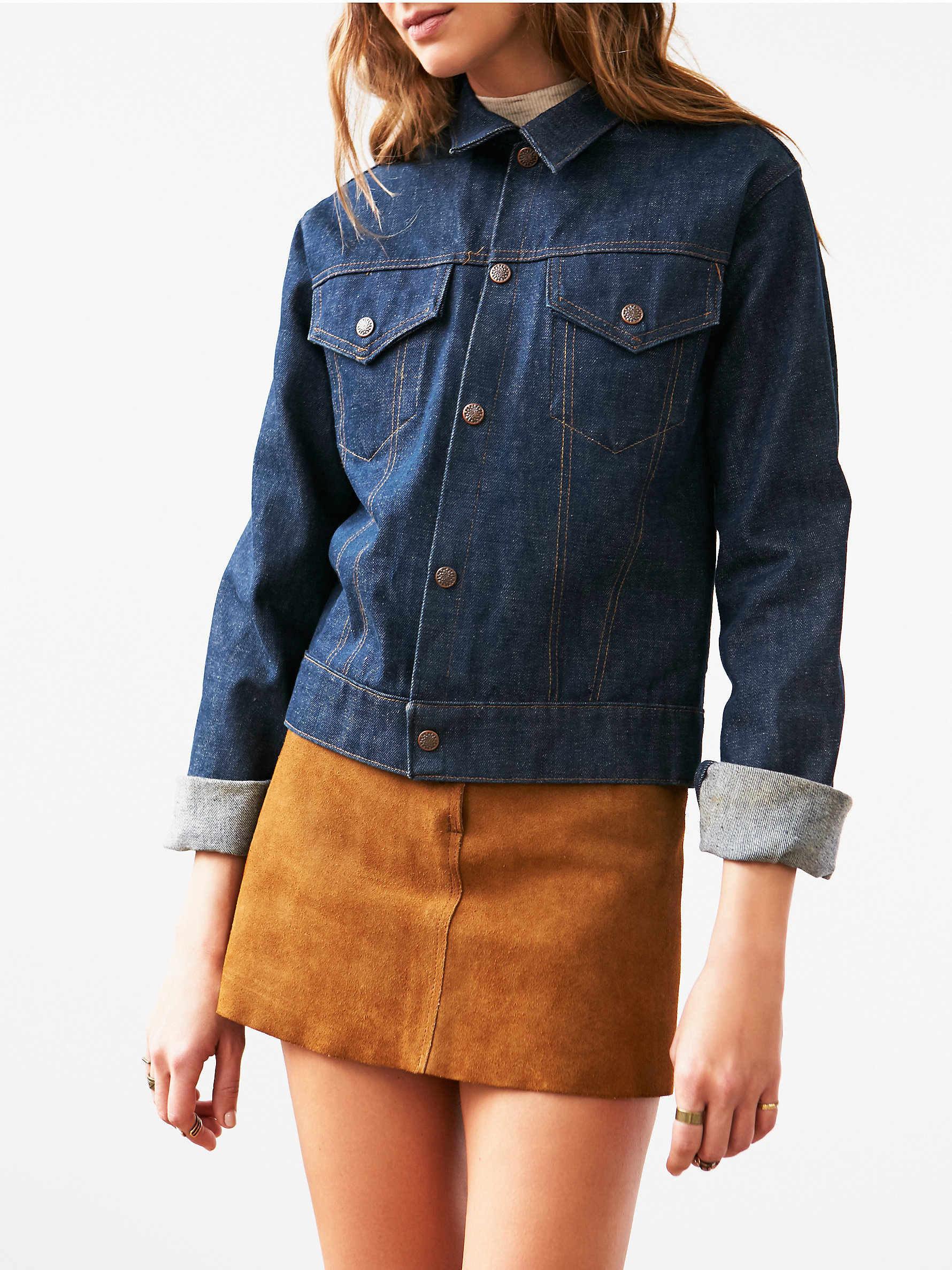 Free people vintage embroidered denim jacket in blue lyst