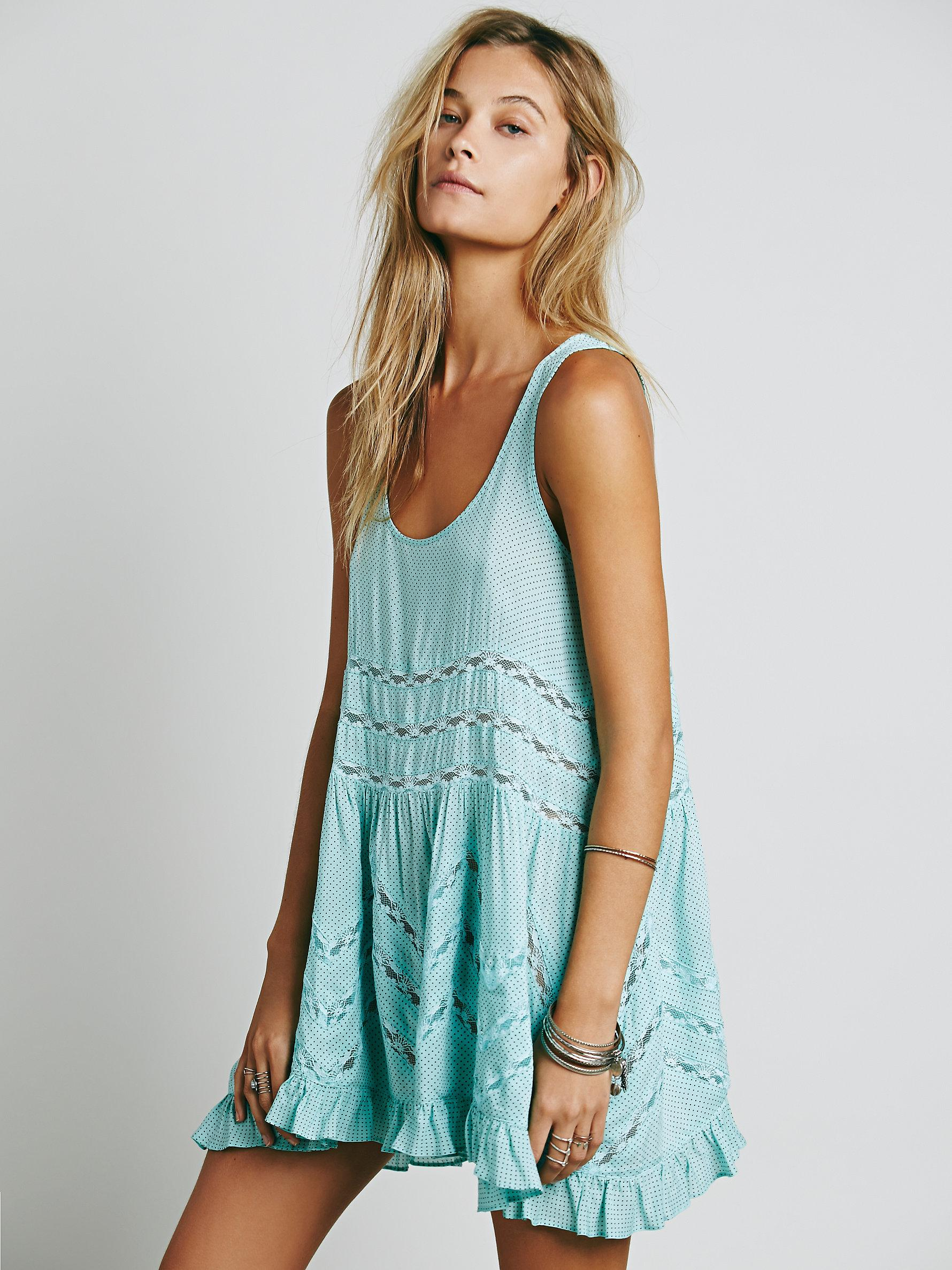 2244f7695303 Lyst - Free People Voile And Lace Trapeze Slip in Blue