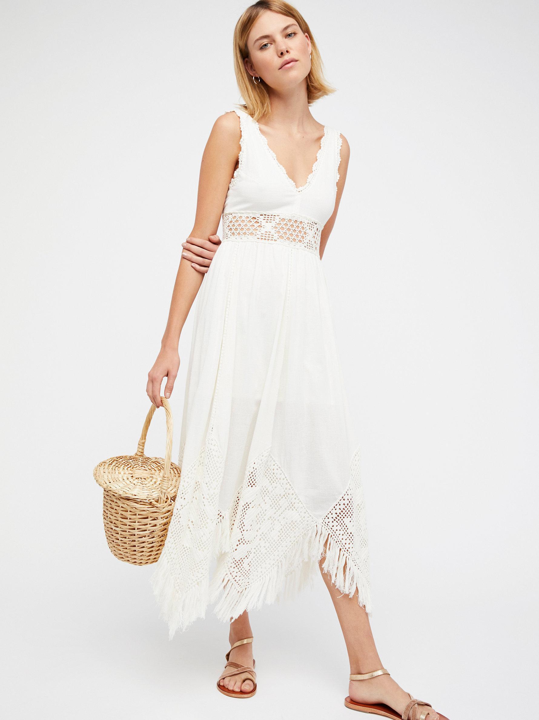 d3c816f47b Free People White Moon Diamond Maxi Dress in White - Lyst