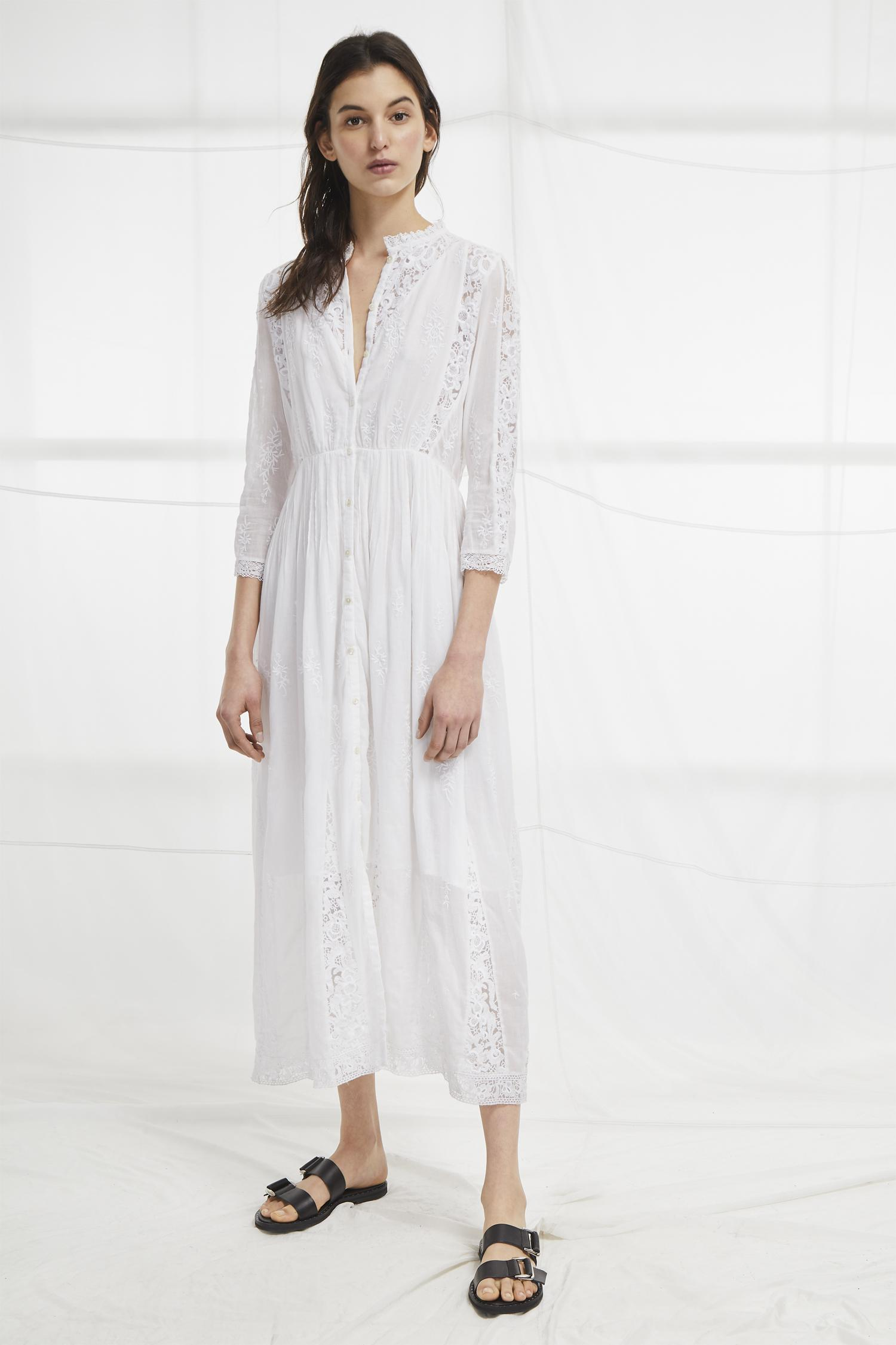 2d0d3595e04 French Connection Alimos Broderie Midi Dress in White - Lyst