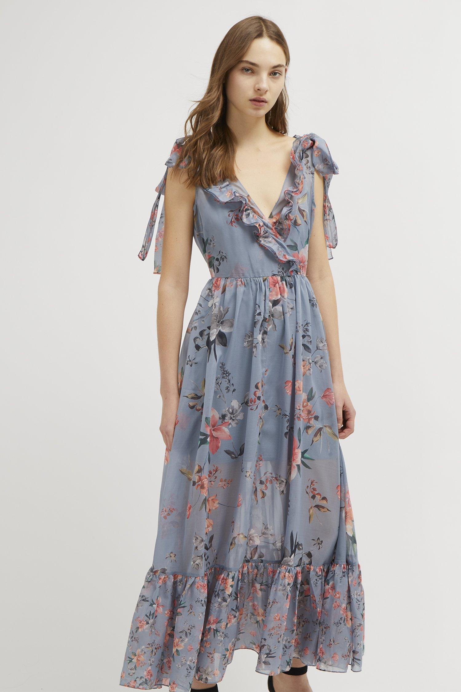 7b61050e190 French Connection - Blue Cecile Sheer V-neck Maxi Dress - Lyst. View  fullscreen