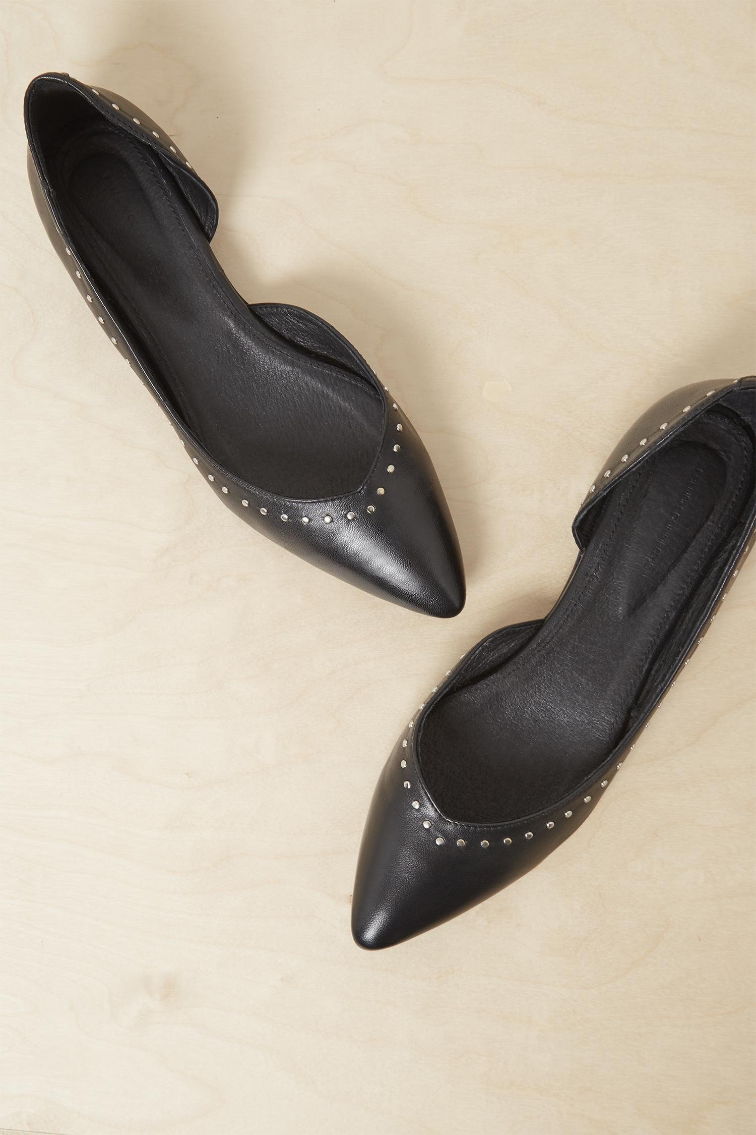 a2867db9078 Lyst - French Connection Verenna Stud Cut Out Ballet Flats in Black