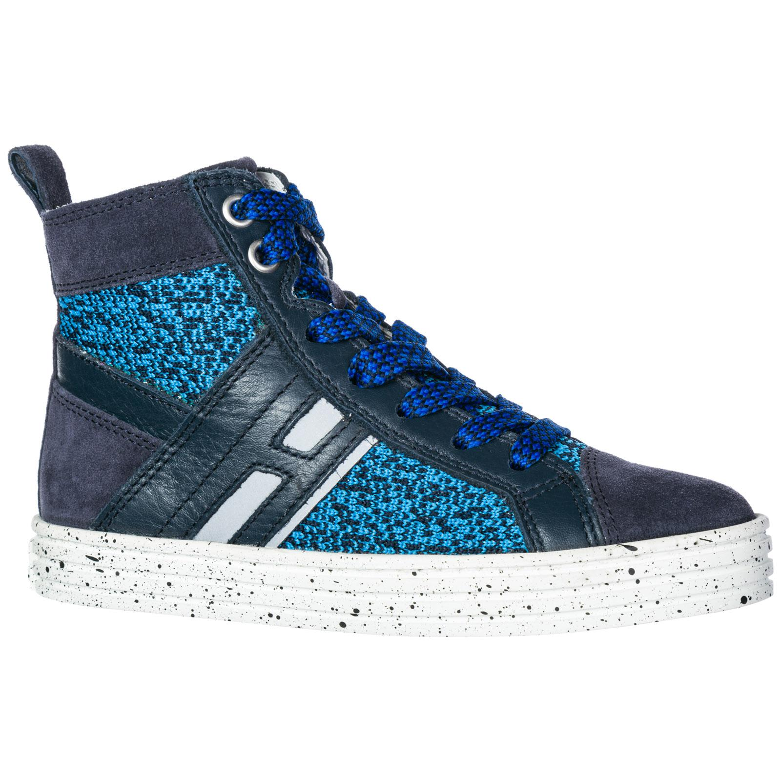Lyst - Hogan Rebel Boys Shoes Child Sneakers Alte Pelle R141 in Blue ... 15350091837
