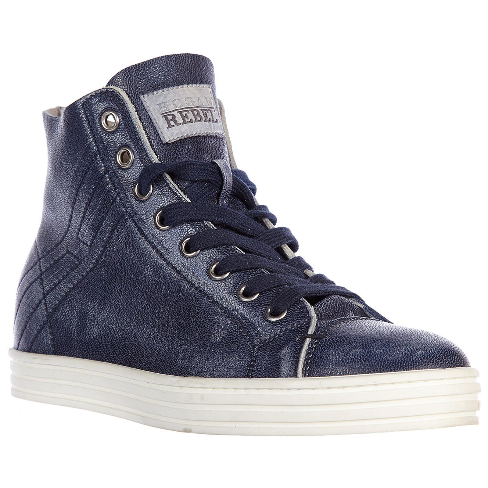 Lyst - Hogan Rebel Shoes High Top Leather Trainers Sneakers R182 ... cae713a9c49
