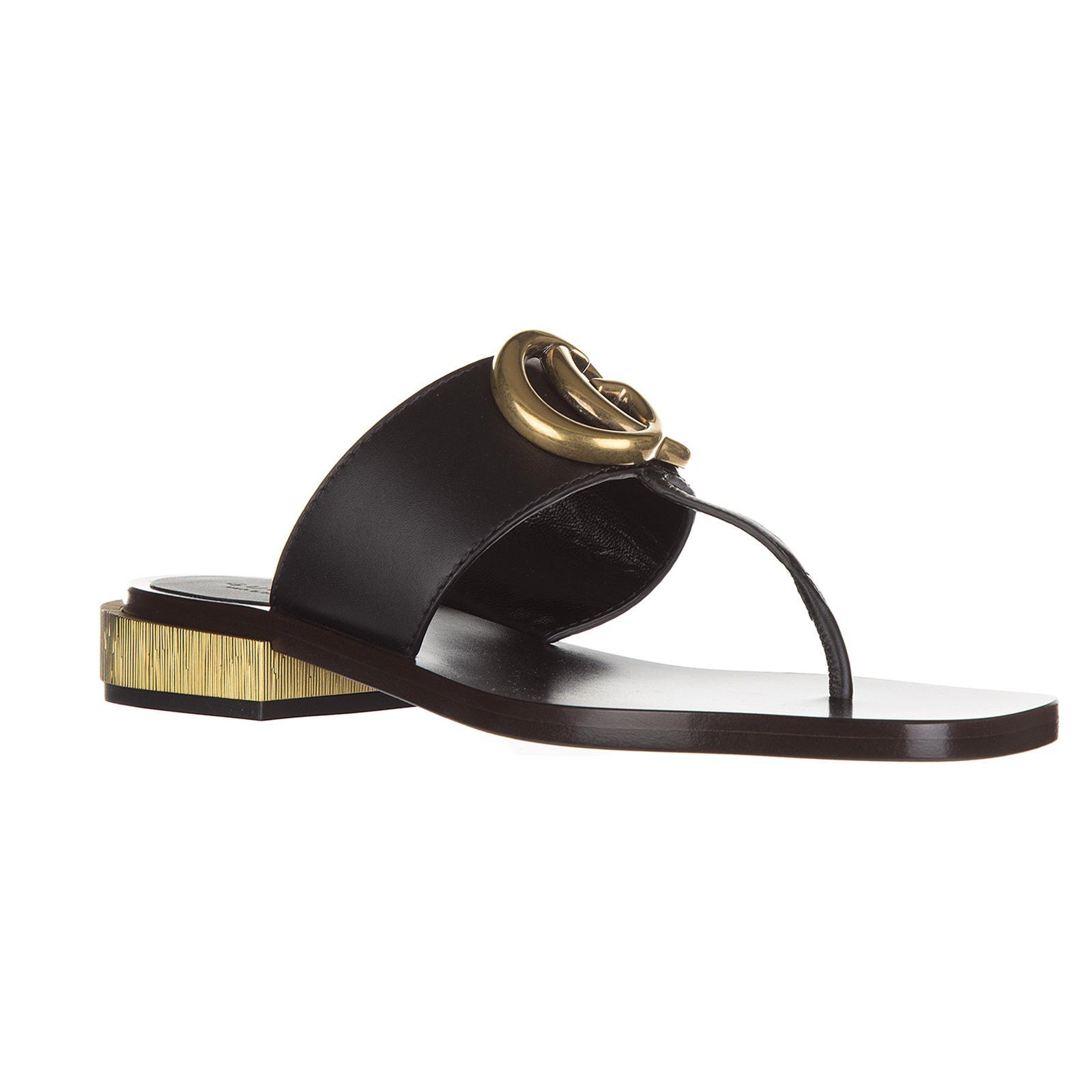884969903 Gucci Leather Flip Flops Sandals Lifford in Black - Lyst