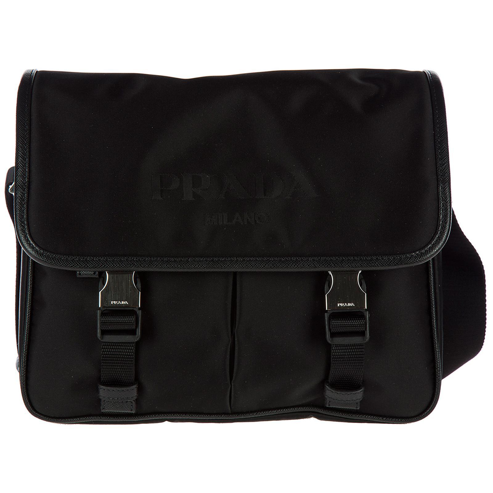 Lyst - Prada Nylon Cross-body Messenger Shoulder Bag in Black for Men e6acd36112778