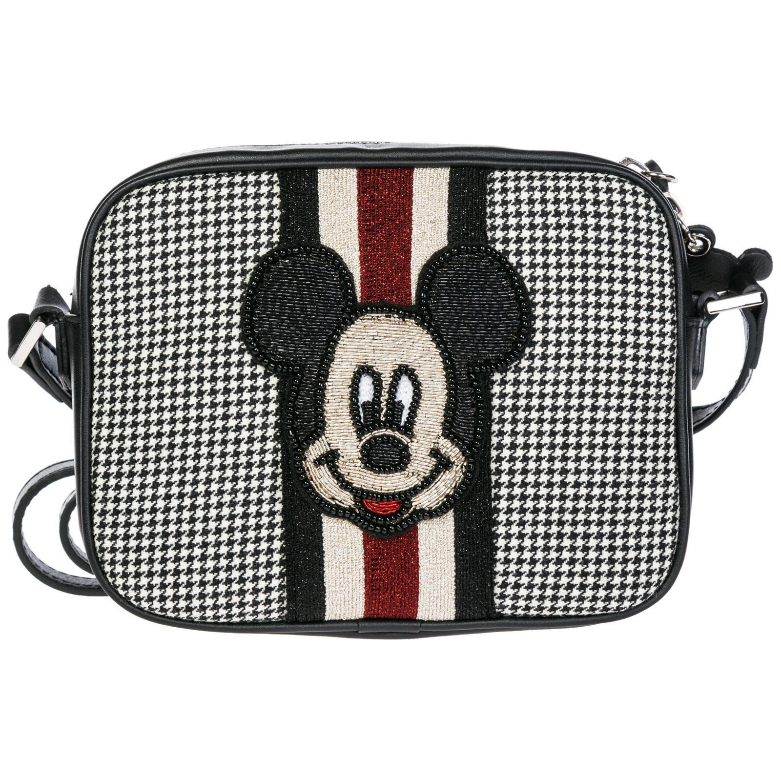9a9f9350e12 MOA. Women's Black Leather Cross-body Messenger Shoulder Bag Disney Mickey  Mouse