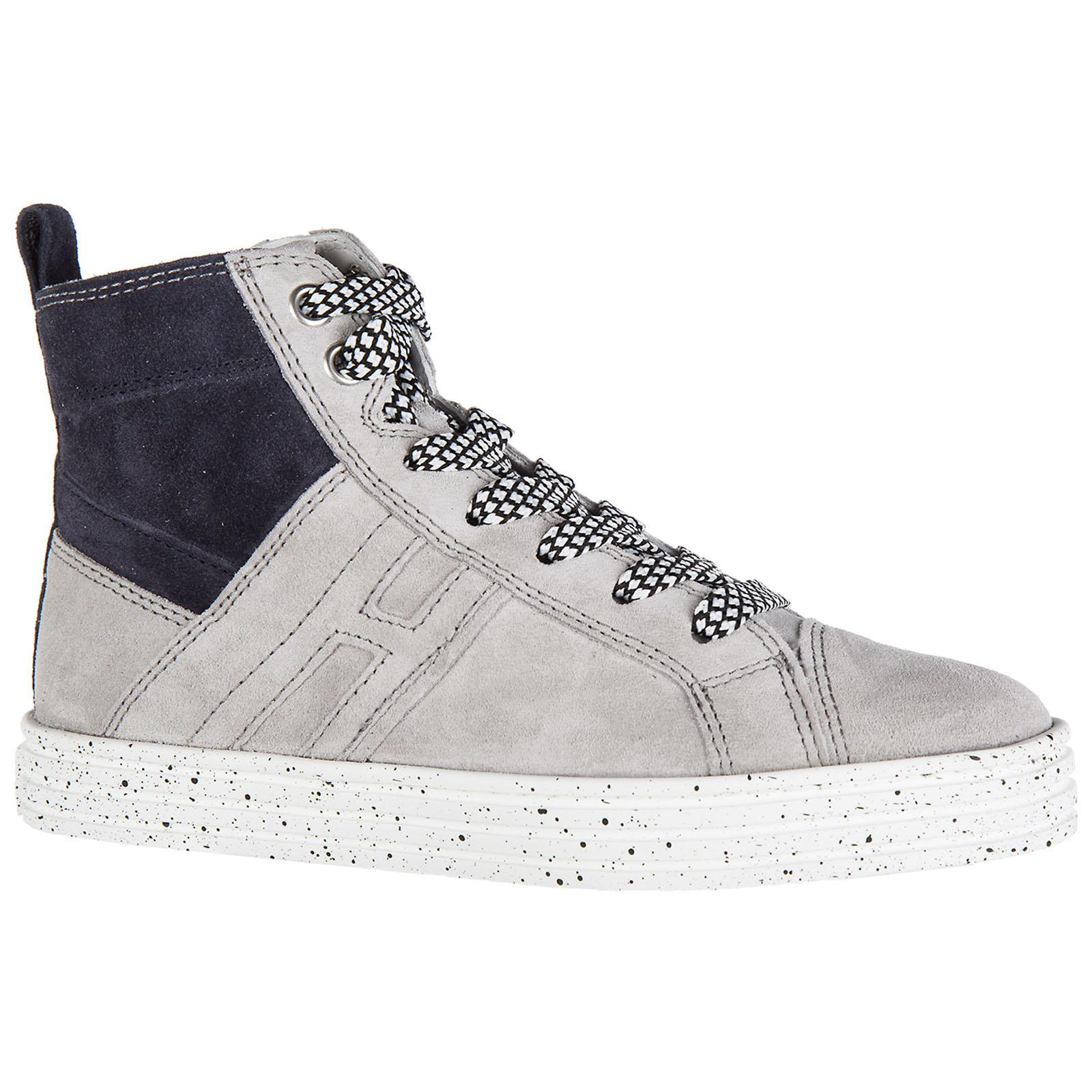 Hogan Rebel Boys Shoes Baby Child Sneakers Alte Camoscio R141 Mid ... f39d9f531bc