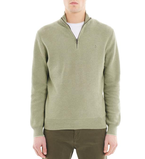 Lyst - Pull en coton pima piqué col montant zippé Polo Ralph Lauren ... 648eb45bbc7