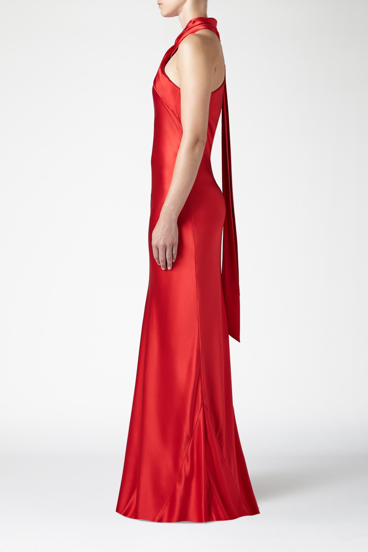 Lyst - Galvan Asymmetrical Silk Bias Cut Dress in Red