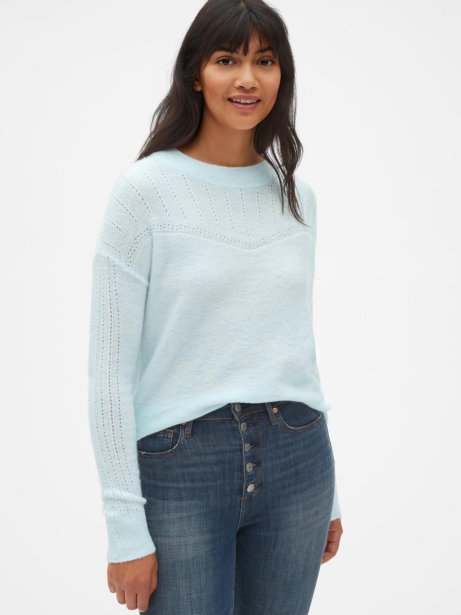 4a41ab08c Lyst - Gap Lacy Pointelle Crewneck Pullover Sweater in Blue