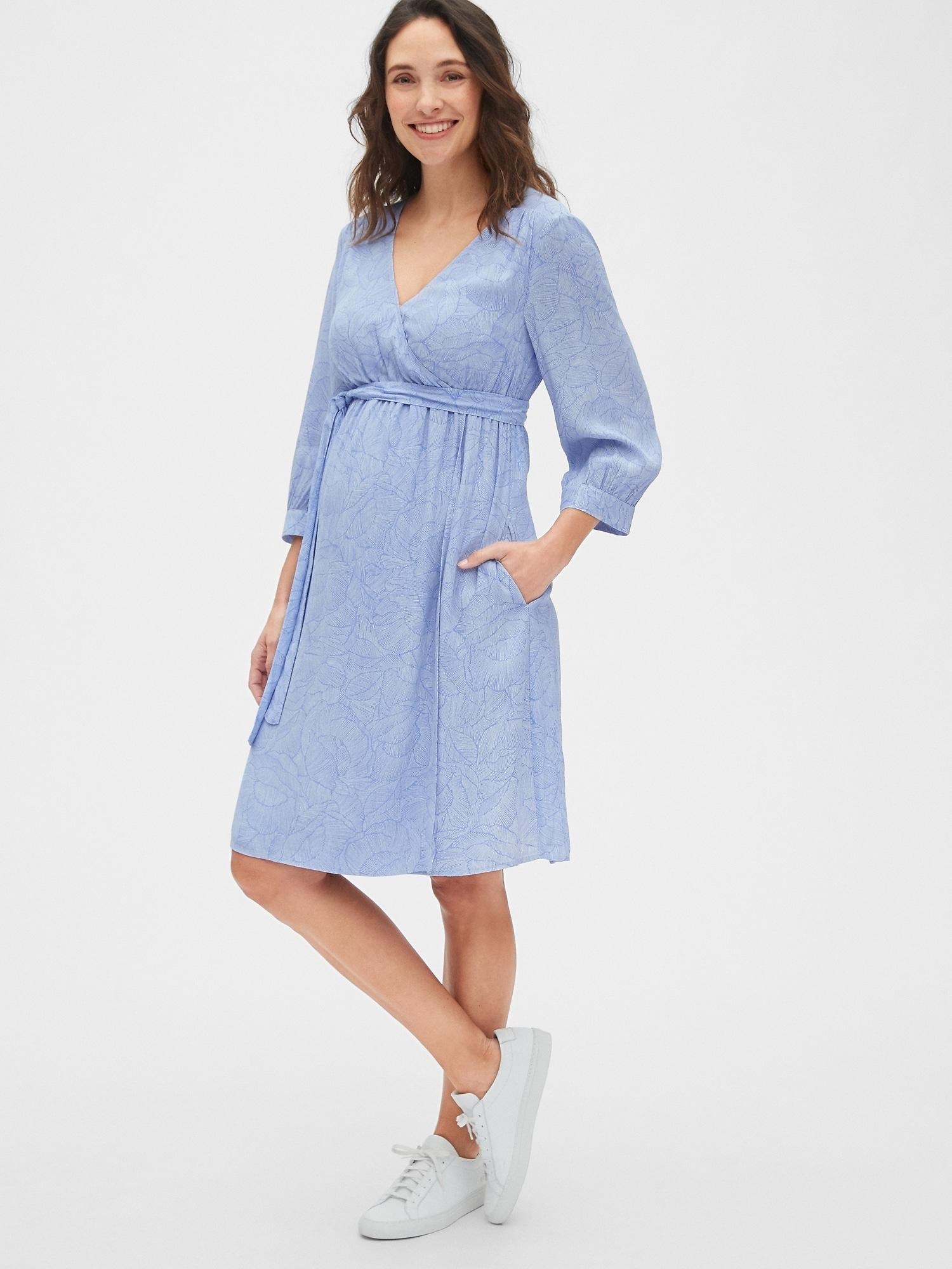 23463ad147 Lyst - Gap Maternity Print Faux-wrap Dress in Blue