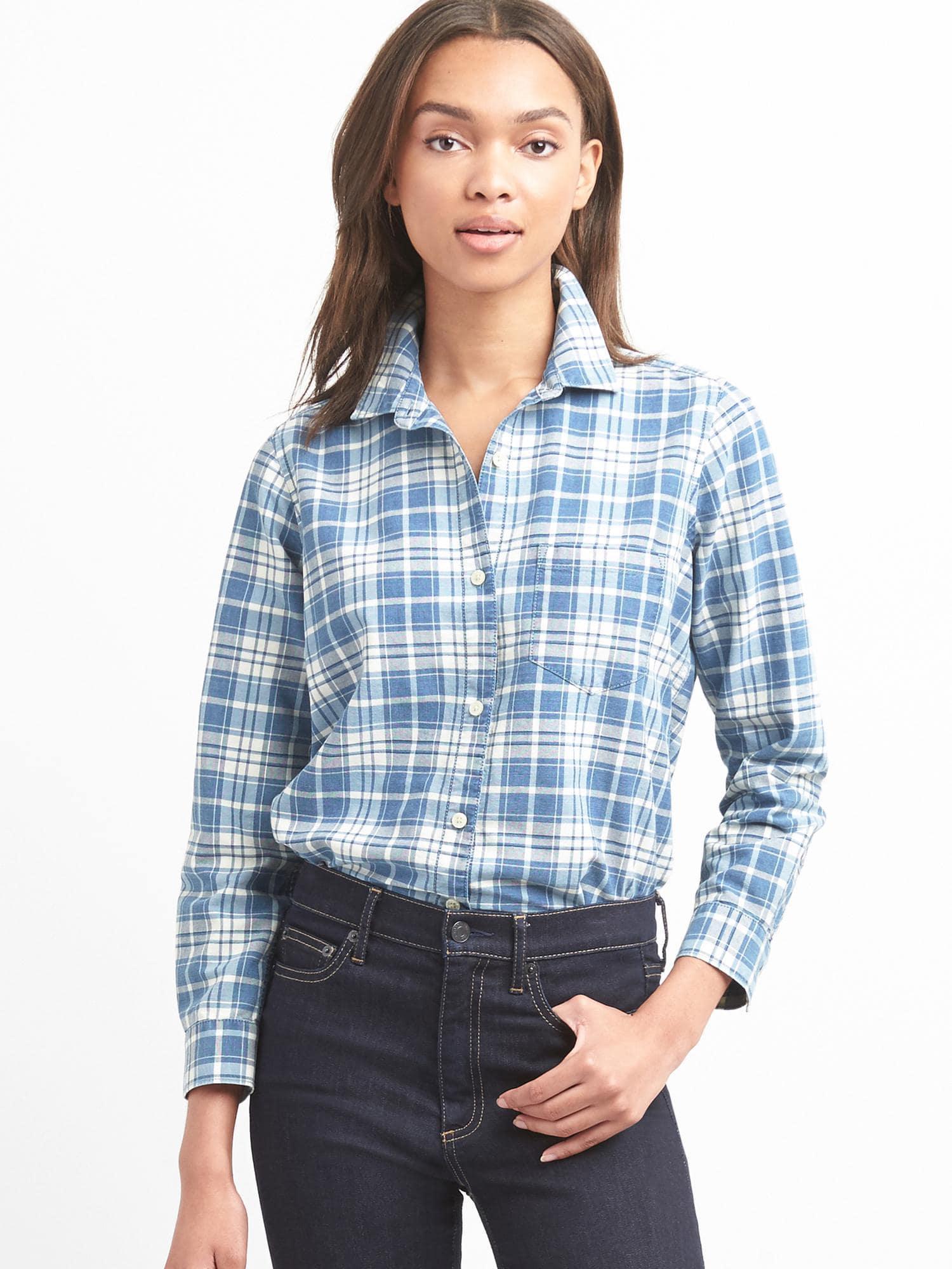 ea247ffb953 Lyst - Gap Denim Plaid Shirt in Blue