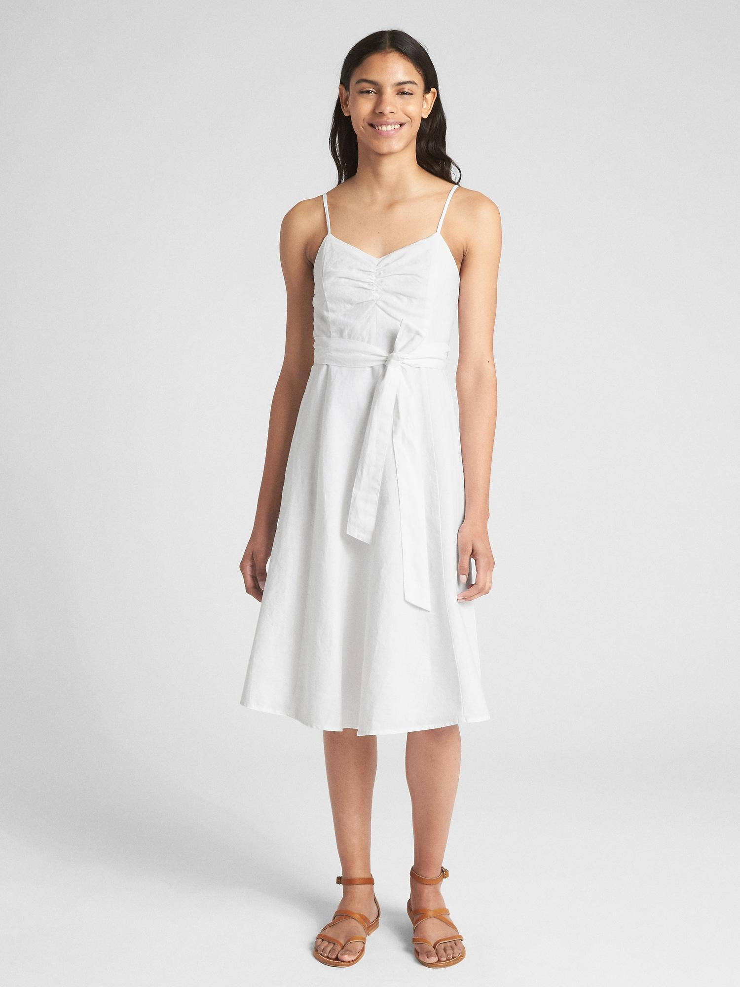 8875986cdd Lyst - Gap Fit And Flare Cami Dress In Linen-cotton in White