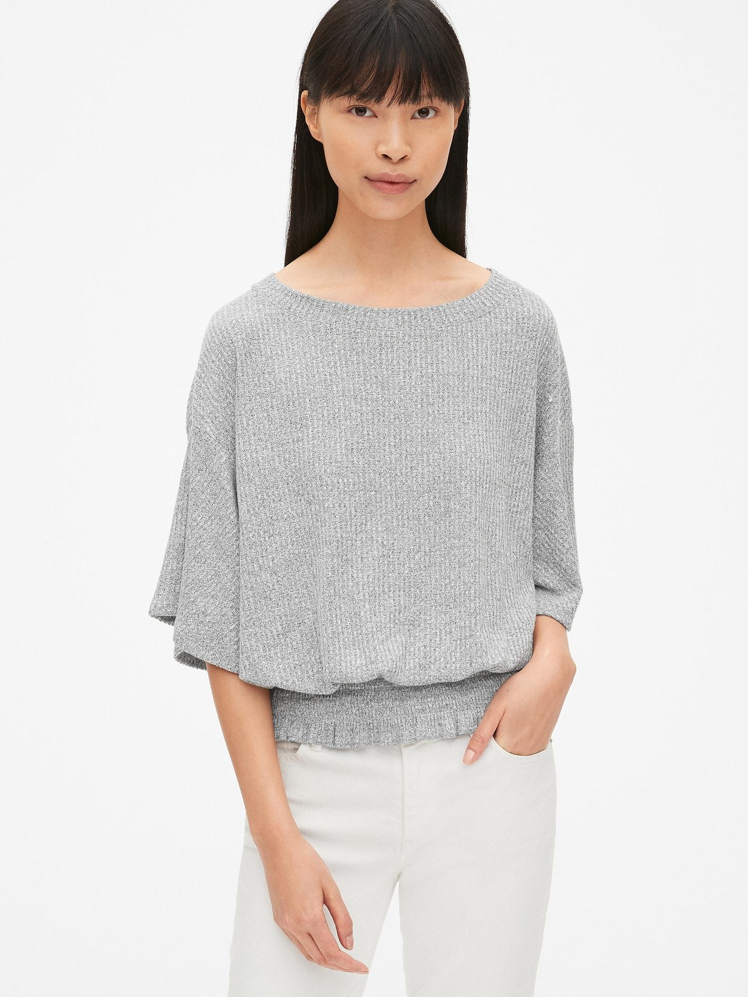 15b8d0a29ce17 Lyst - Gap Softspun Waffle-knit Smocked Short Sleeve Top in Gray