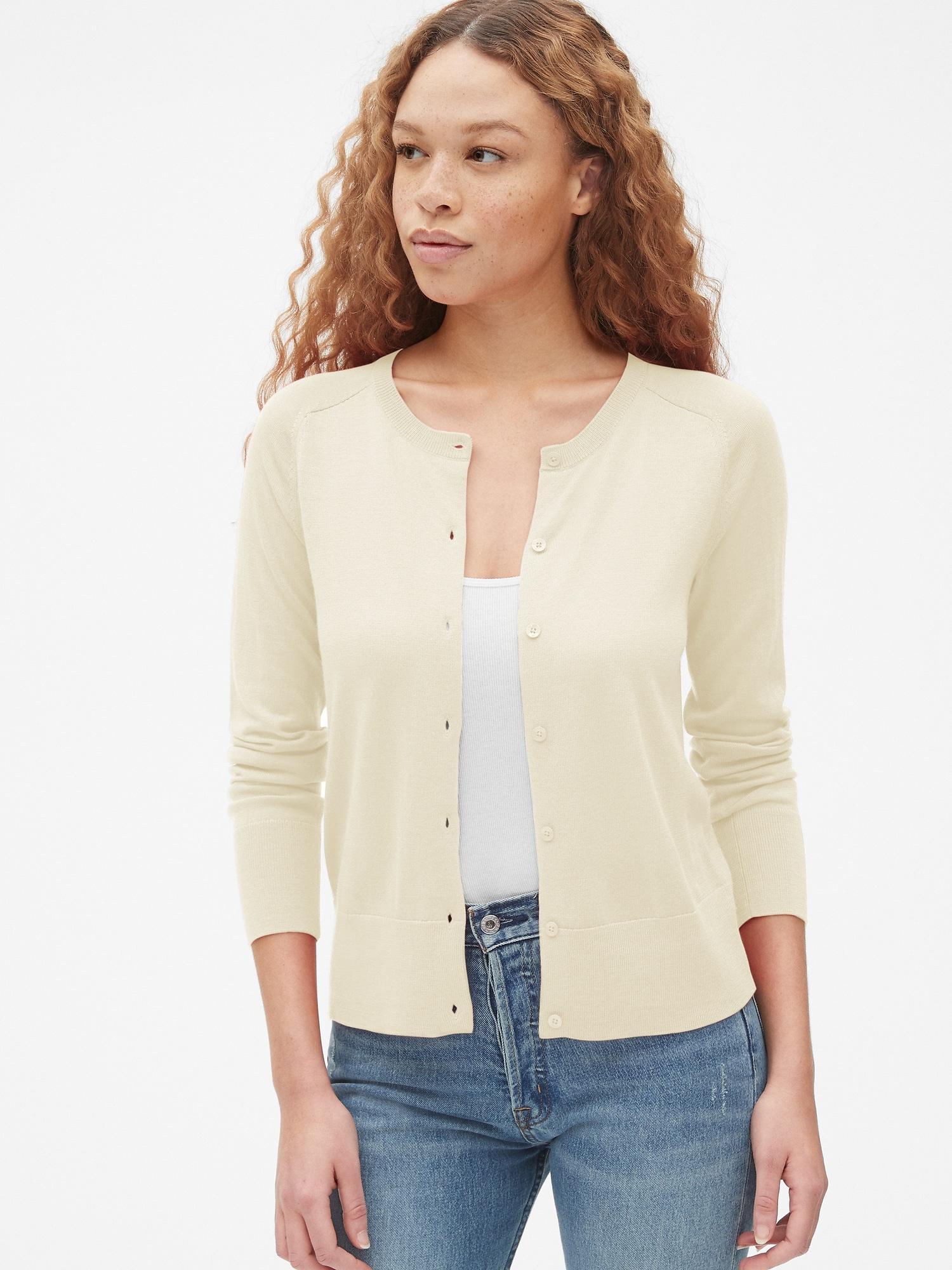 5e46b60d2d Lyst - Gap Crewneck Cardigan Sweater In Merino Wool in White