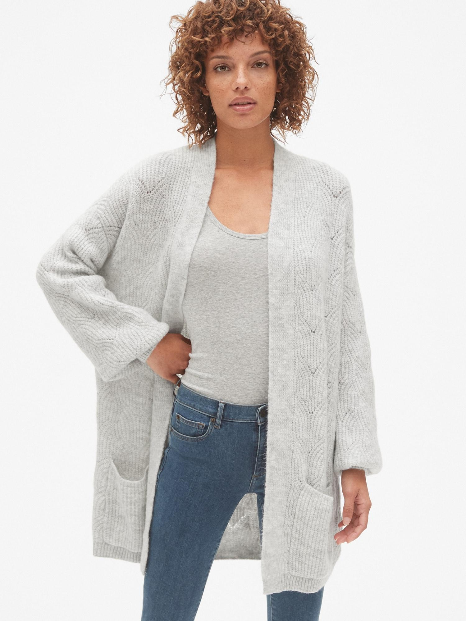 debb00a863 Lyst - Gap Brushed Pointelle Open-front Cardigan Sweater in Gray