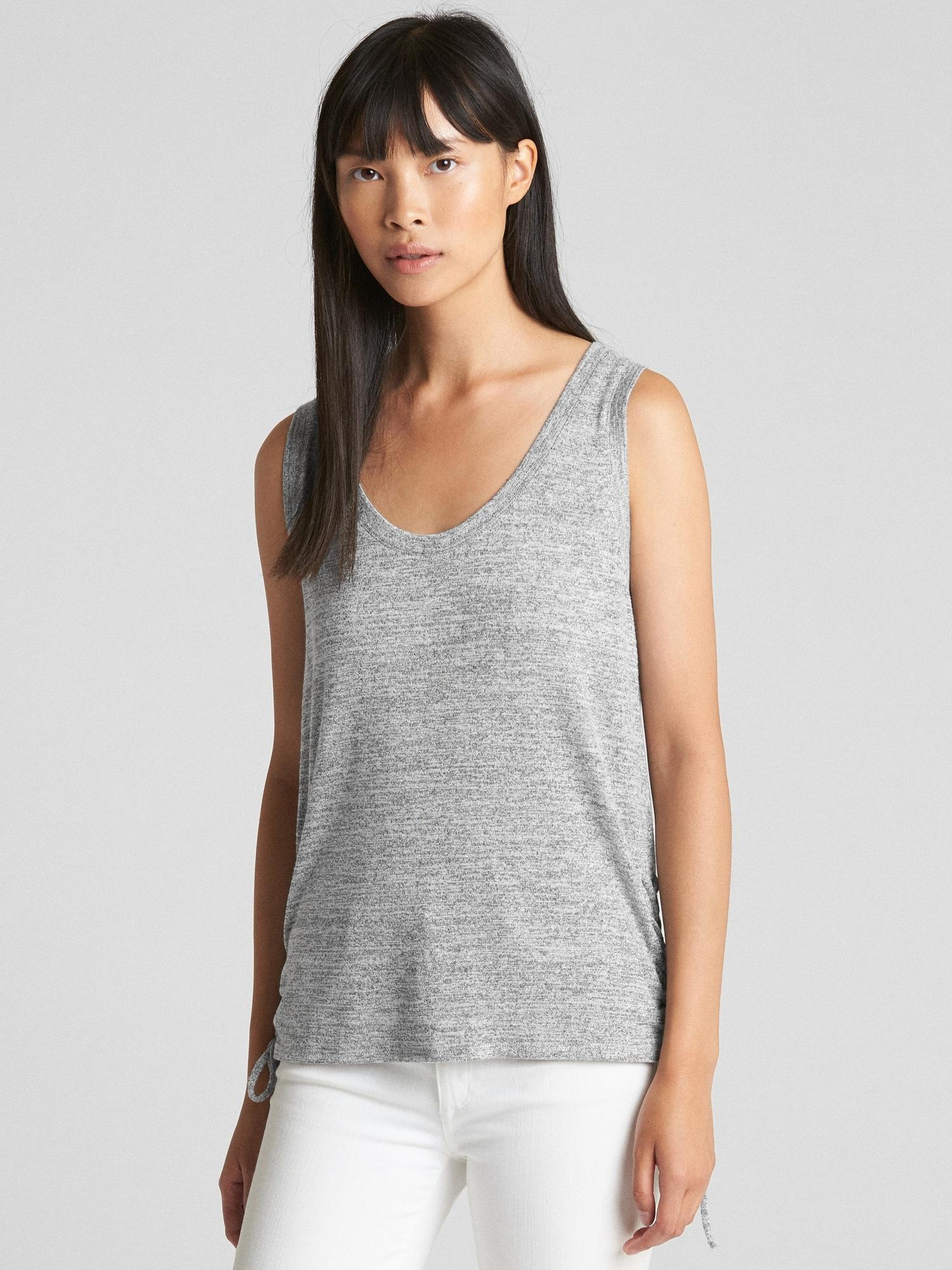 52cab3e2 Lyst - Gap Softspun Lace-up Tank Top in Gray