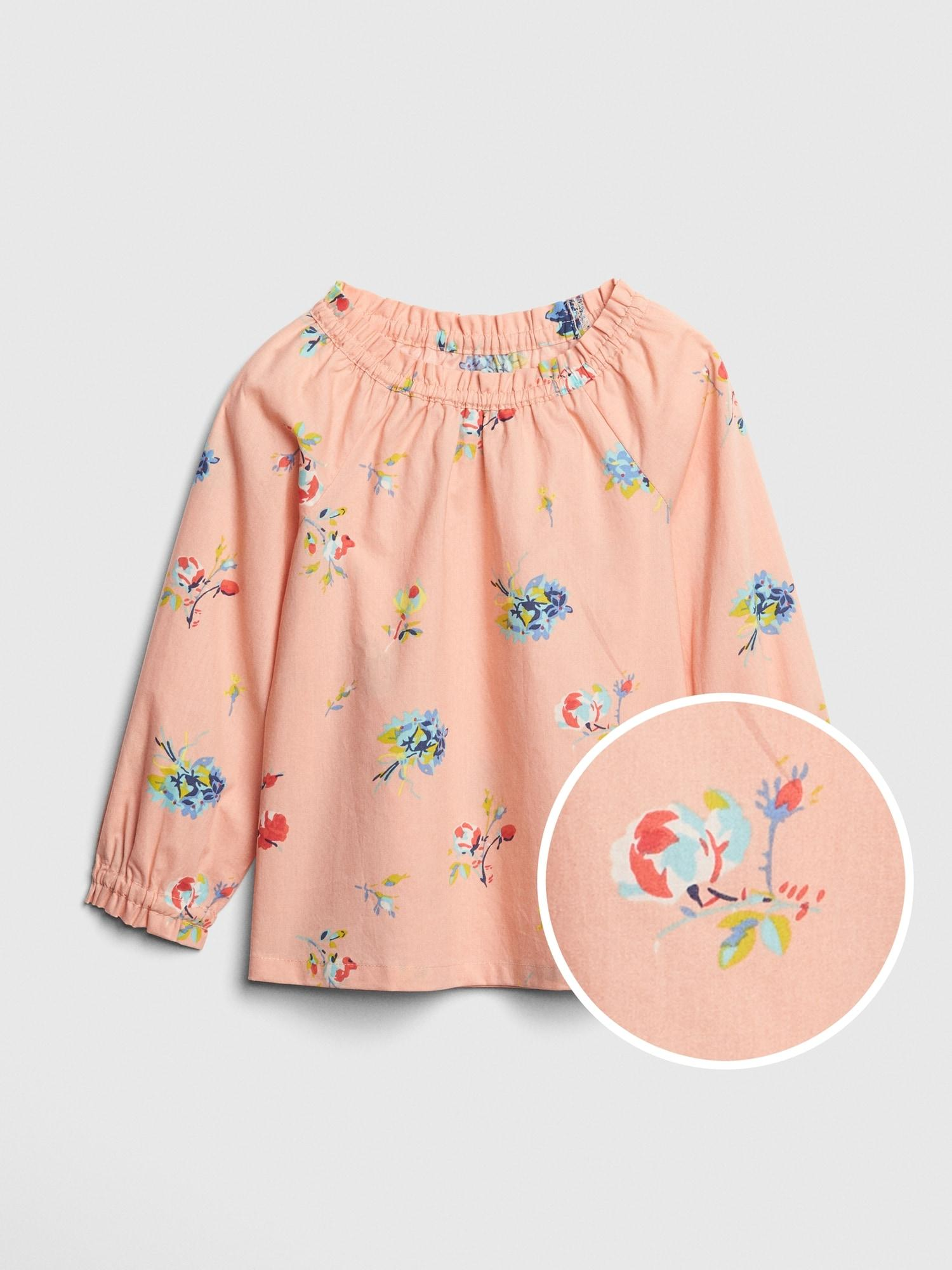 279eb7e49f9 Lyst - Gap Floral Ruffle Top in Pink