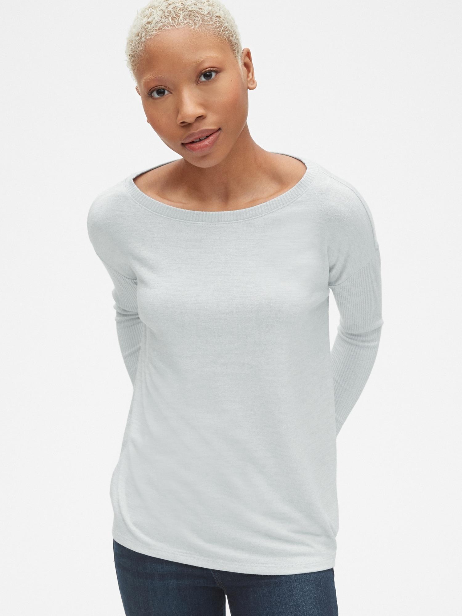 416b7438fcfba Lyst - Gap Softspun Mix-fabric Long Sleeve Top in Gray