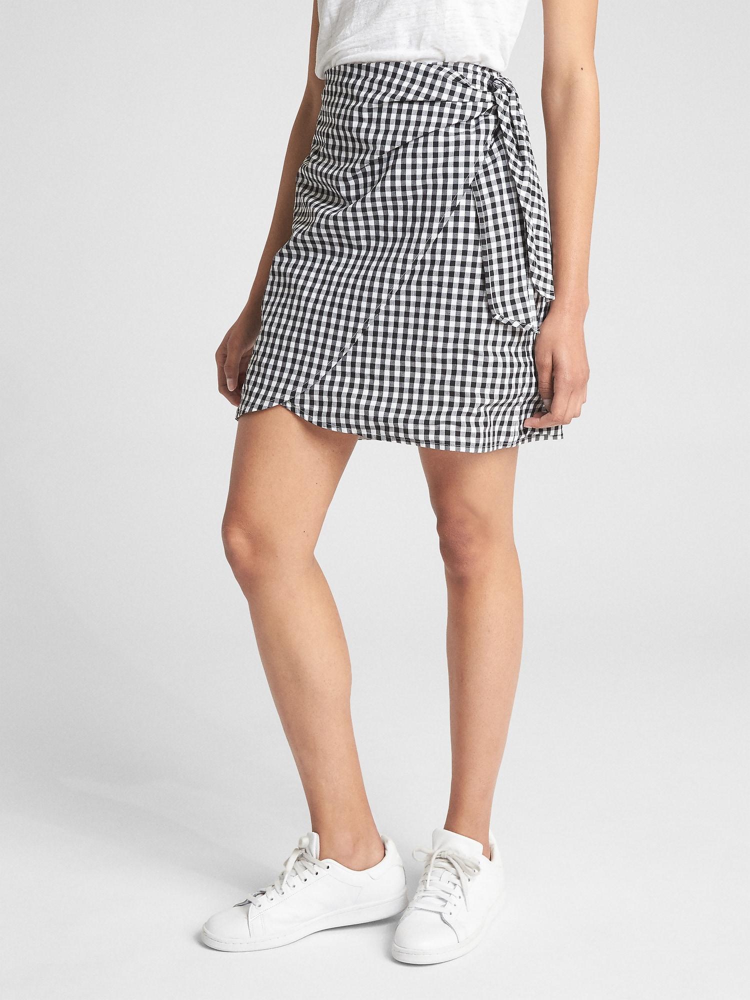 fa99abdd76 Lyst - Gap Gingham Print Wrap Mini Skirt in Black